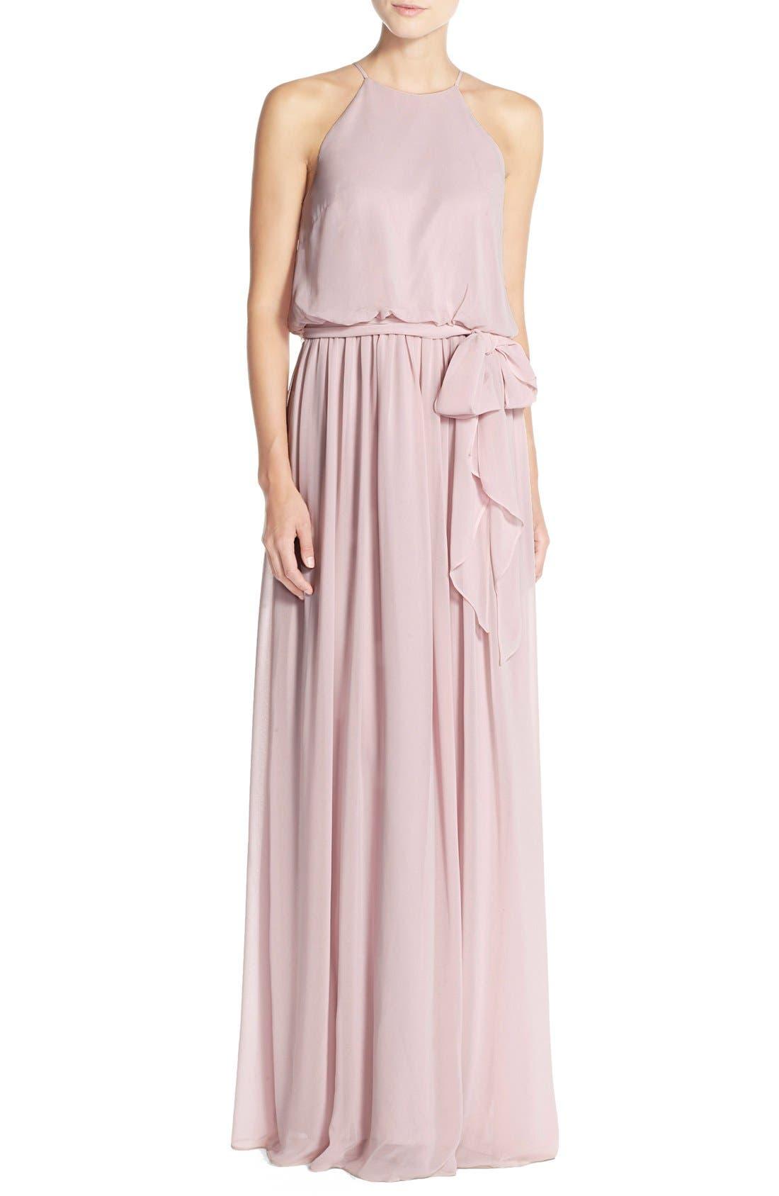 Main Image - Donna Morgan 'Alana' Chiffon Halter Style Gown