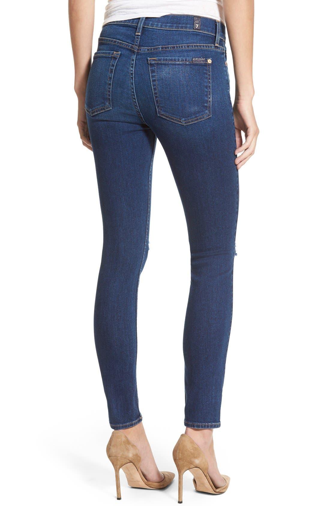 Alternate Image 2  - 7 For All Mankind® Destroyed Ankle Skinny Jeans (Stunning Seville 2)