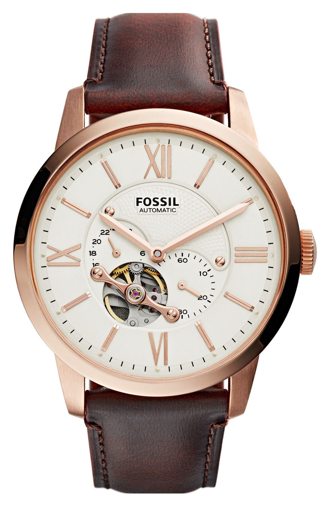 Fossil 'Townsman' Automatic Leather Strap Watch, 44mm