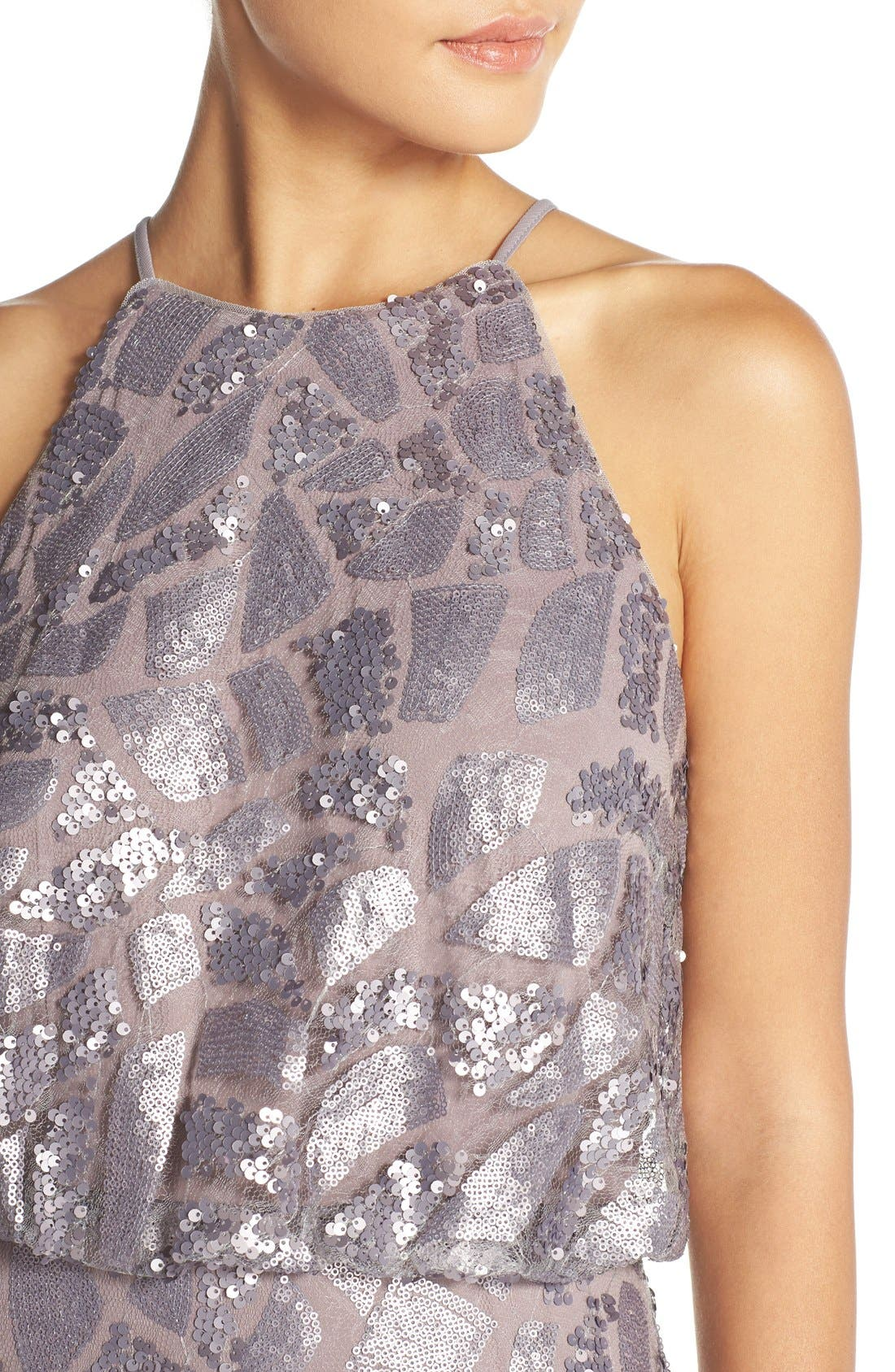 Alternate Image 4  - Donna Morgan 'Tiffany' Sequin Halter-Style Blouson Gown