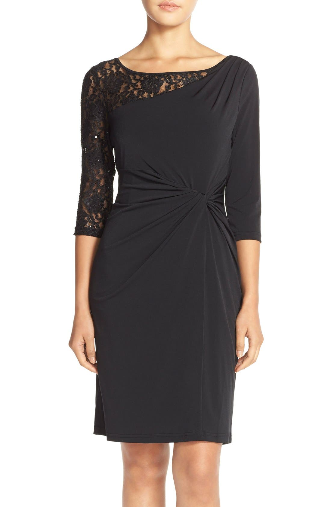 ELLEN TRACY Sequin Lace & Jersey Sheath Dress