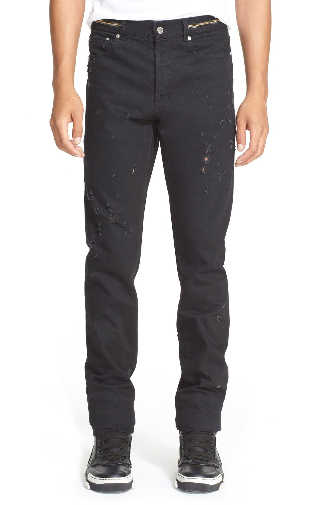 GIVENCHY Cuban Fit Distressed Slim Straight Leg Jeans