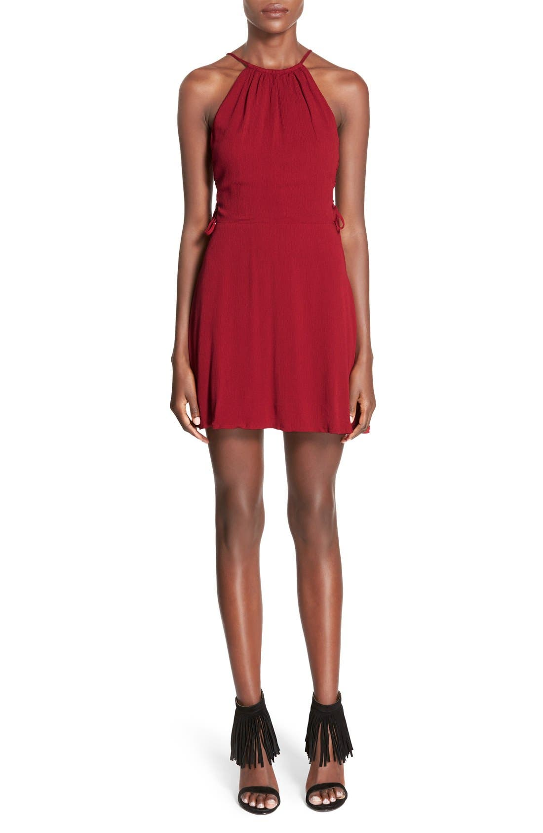 Main Image - Missguided Side Lace-Up Skater Dress