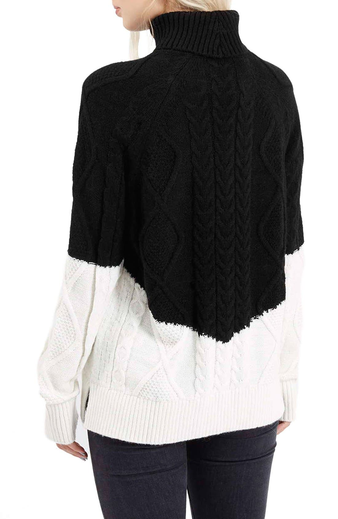 Alternate Image 3  - Topshop ColorblockCable Knit Sweater