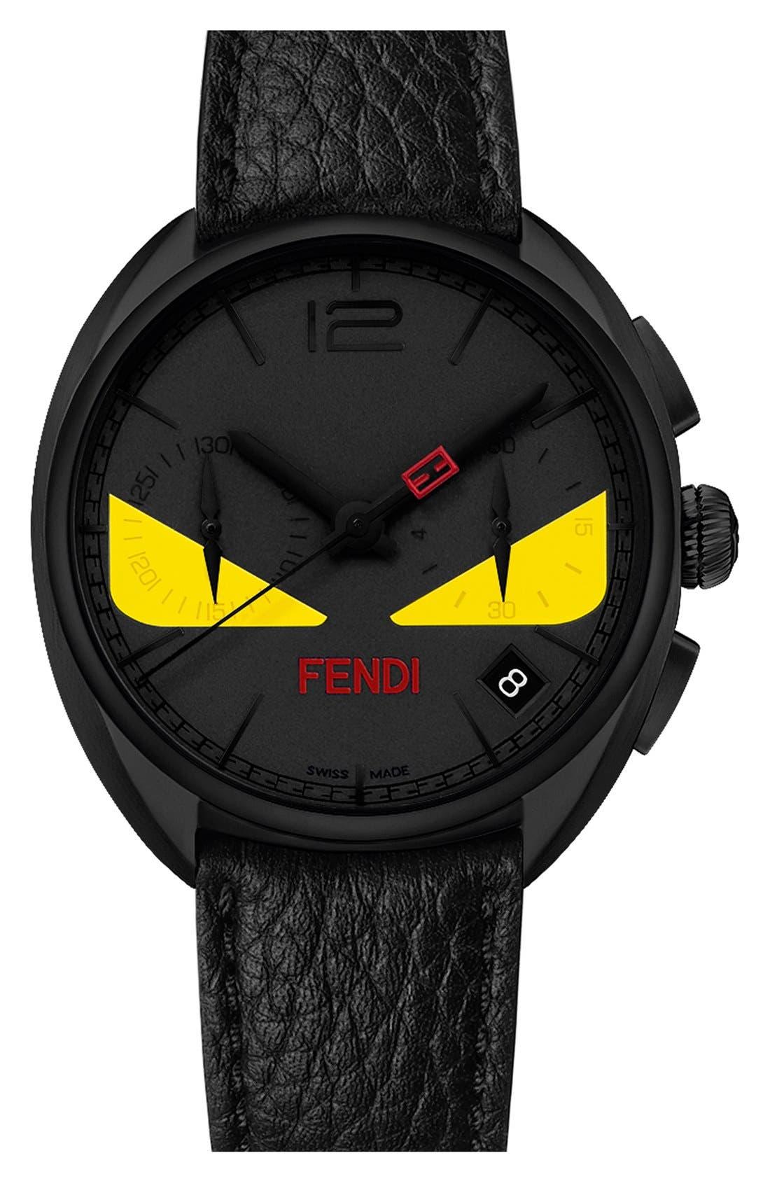 Alternate Image 1 Selected - Fendi 'Momento Bug' Chronograph Leather Strap Watch, 40mm
