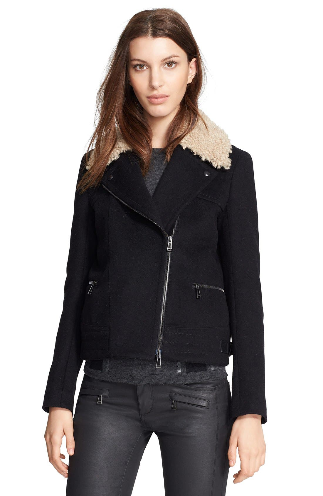 Main Image - Belstaff 'Kingsley' Lightweight Tweed Moto Jacket with Genuine Shearling Collar