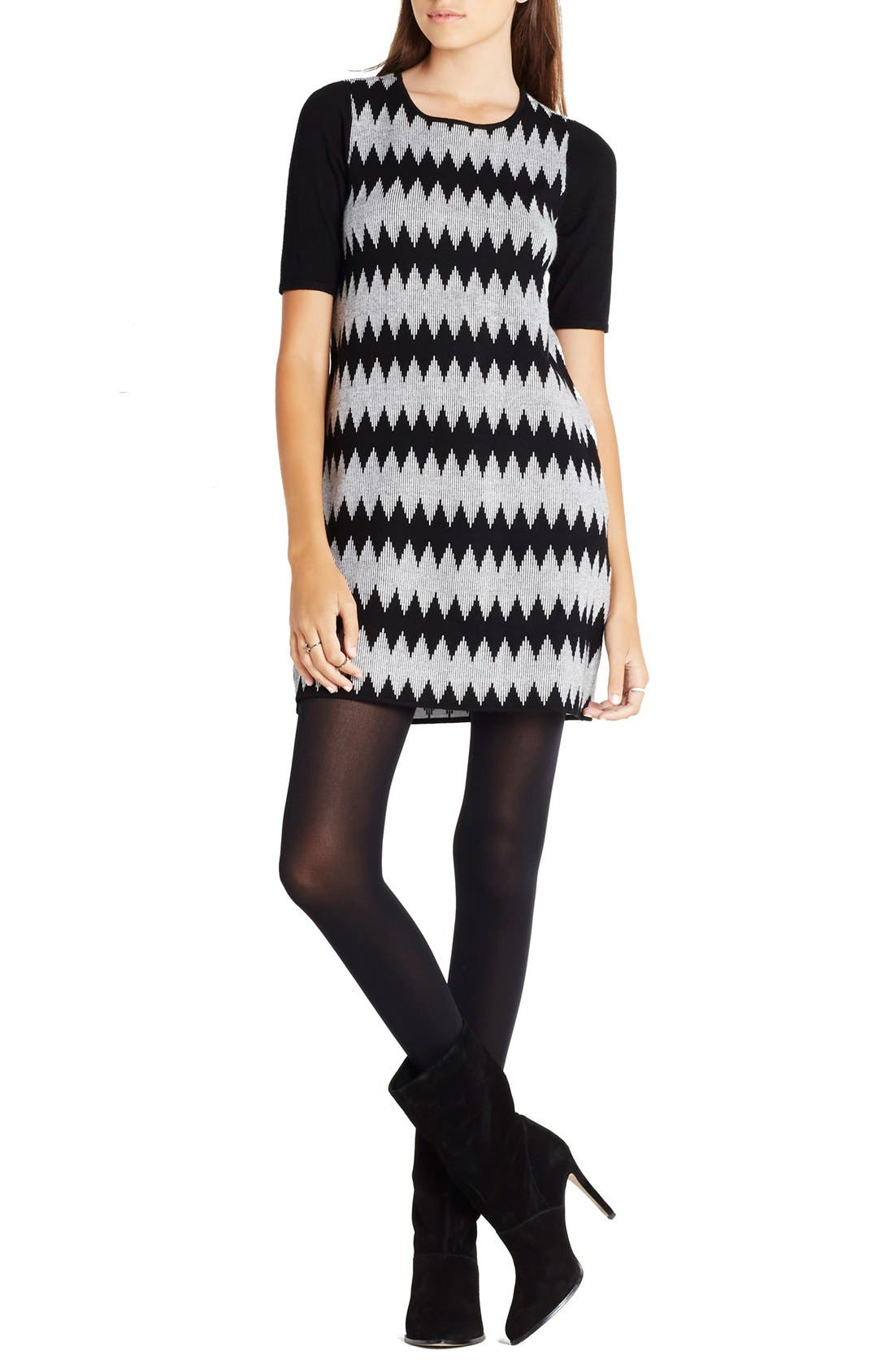 Main Image - BCBGeneration Jacquard Shift Sweater Dress