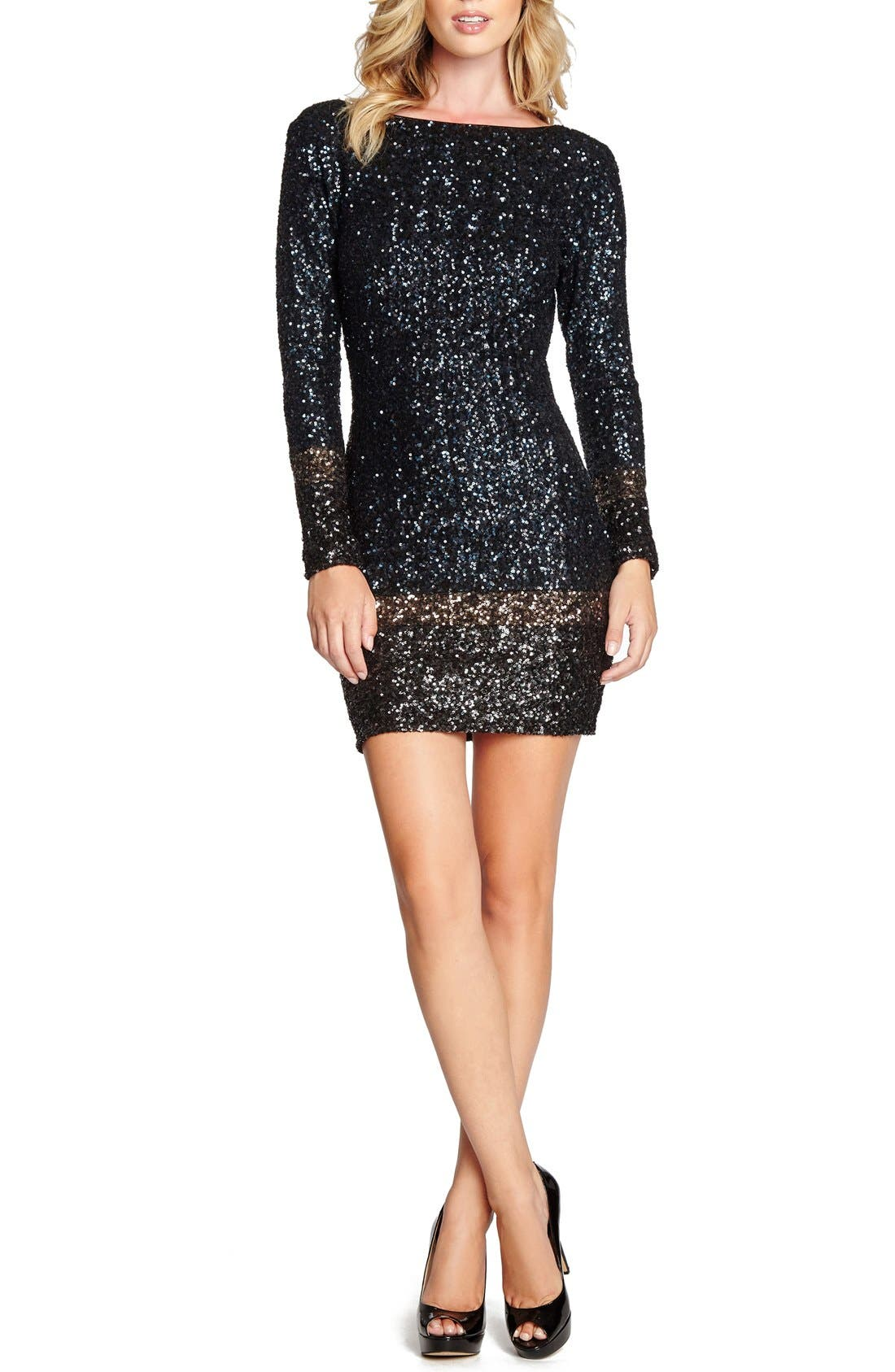 Alternate Image 1 Selected - Dress the Population 'Patricia' Open Back Sequin Minidress