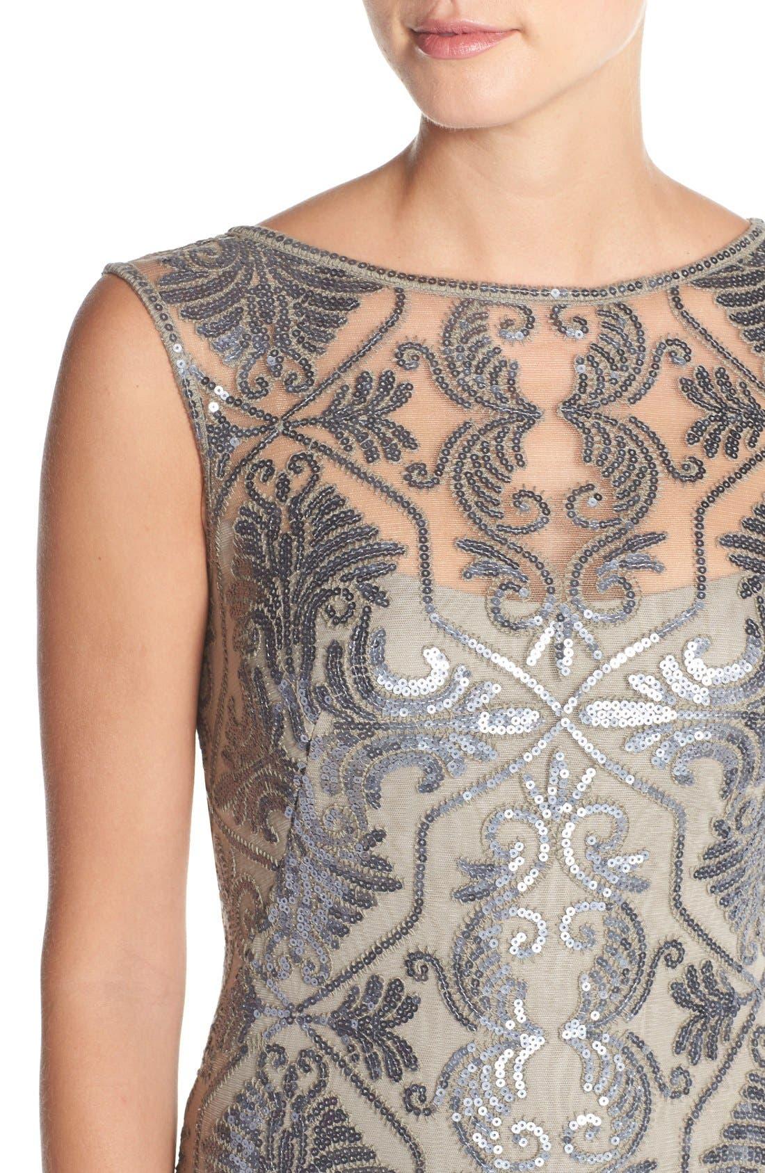 Alternate Image 4  - Tadashi Shoji Sequin Tulle Mermaid Gown