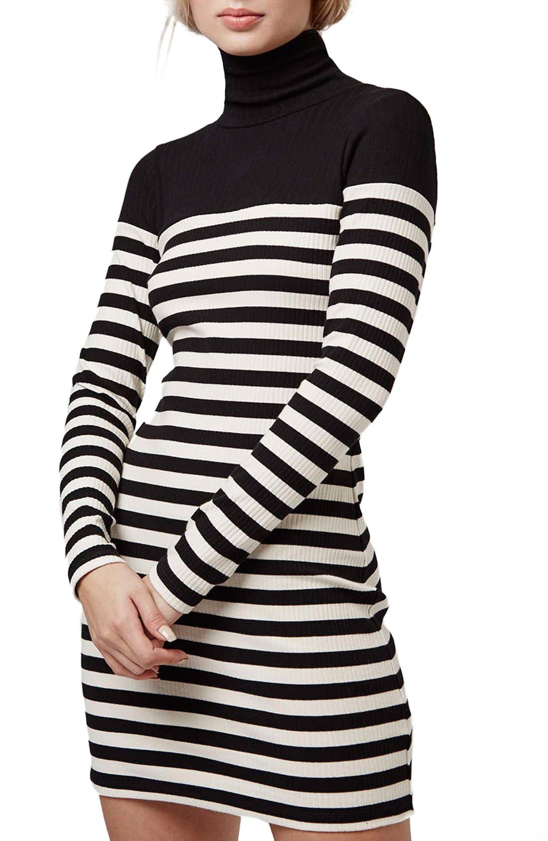 Main Image - Topshop Turtleneck Long Sleeve Body-Con Dress (Petite)