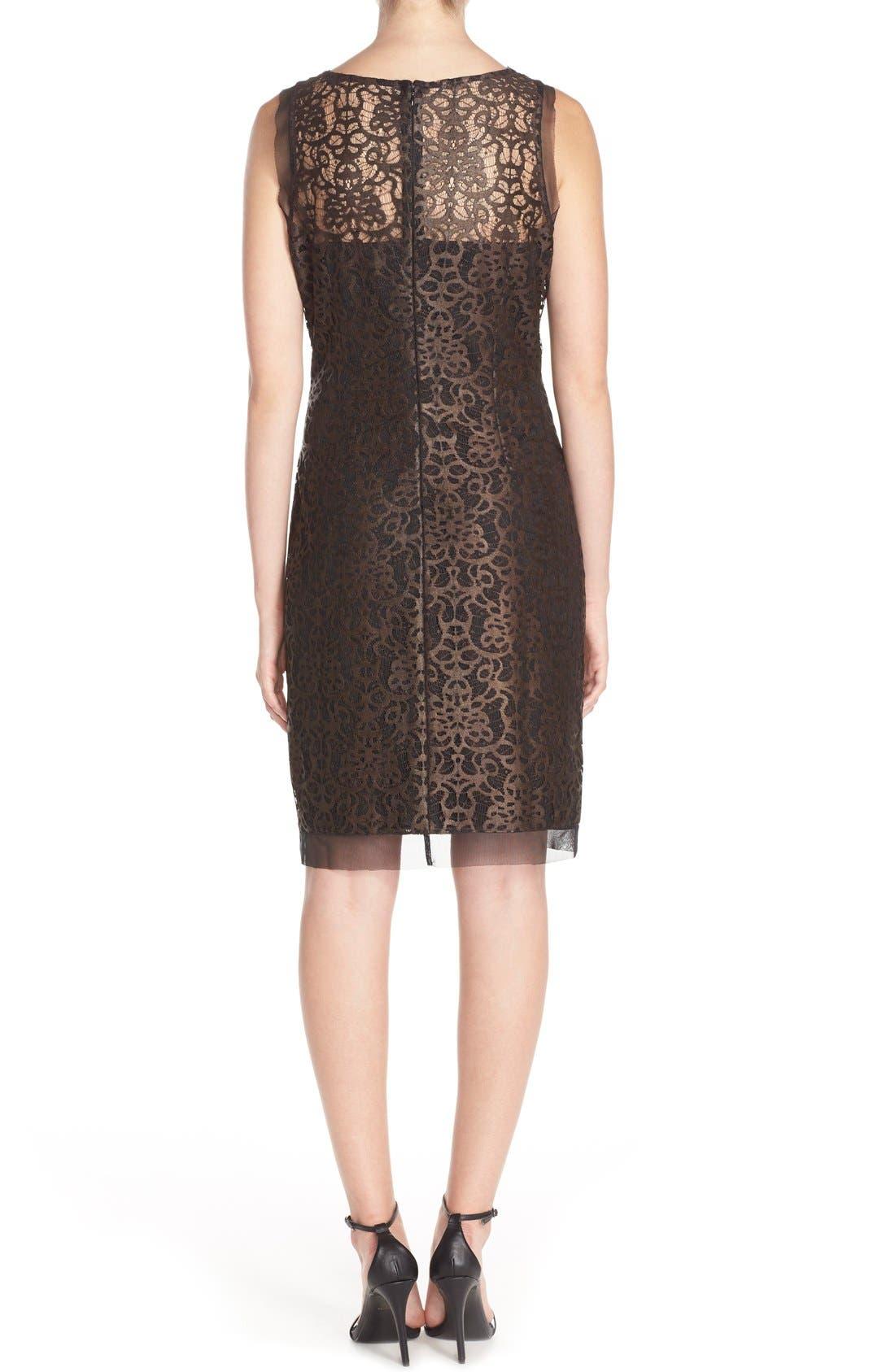 Alternate Image 2  - Julia Jordan Metallic Lace Sheath Dress