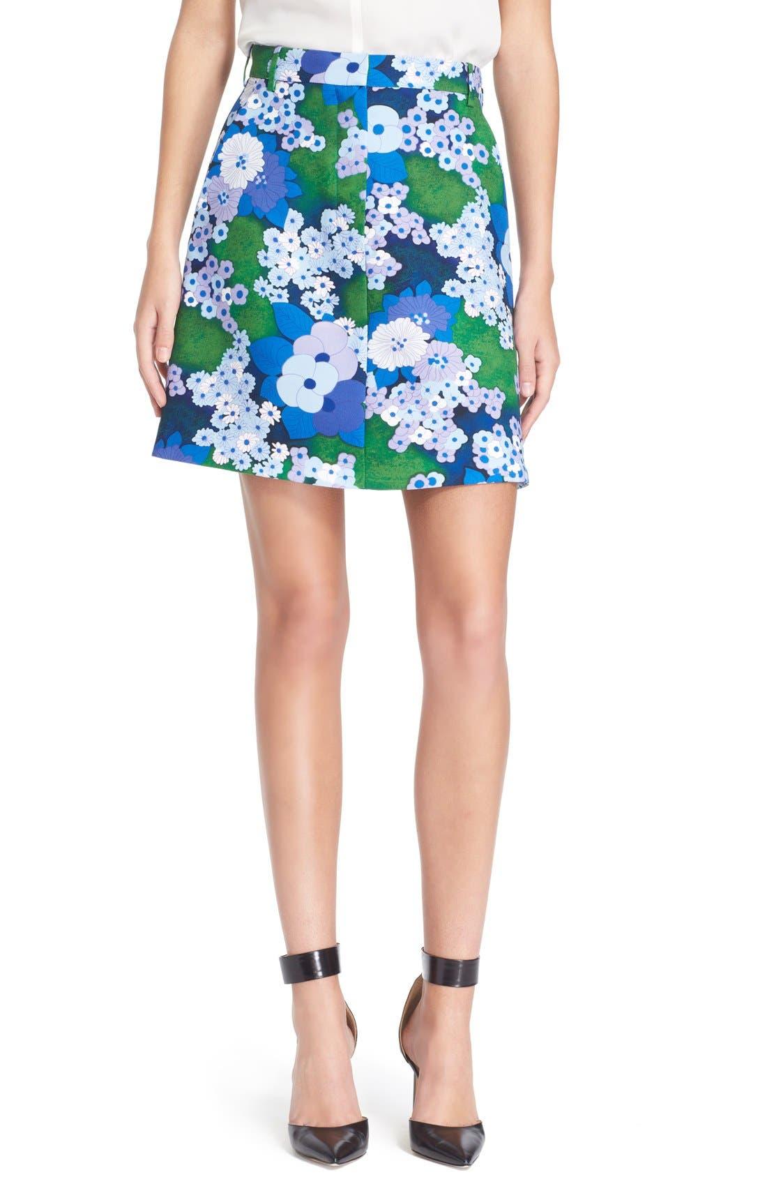 Main Image - Carven Floral Print A-Line Skirt