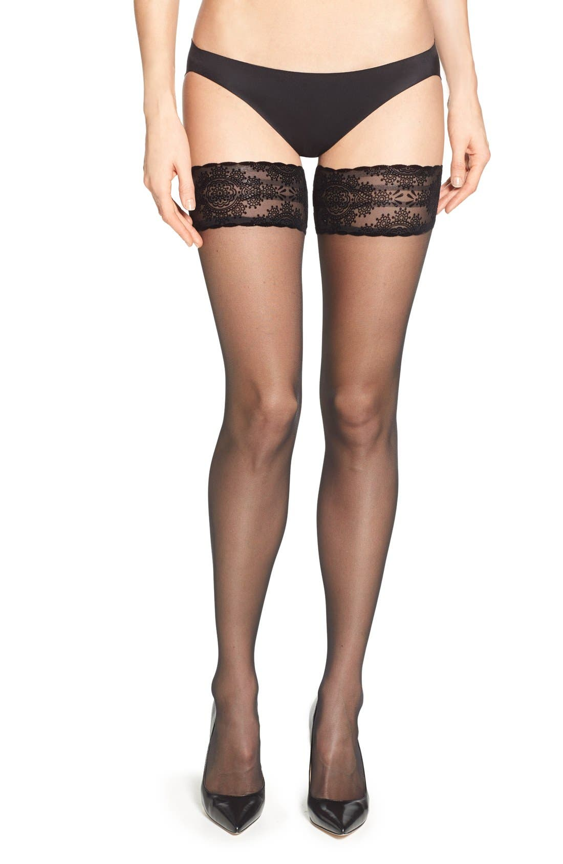 Main Image - Wolford 'Glam' Thigh High Stay Up Stockings
