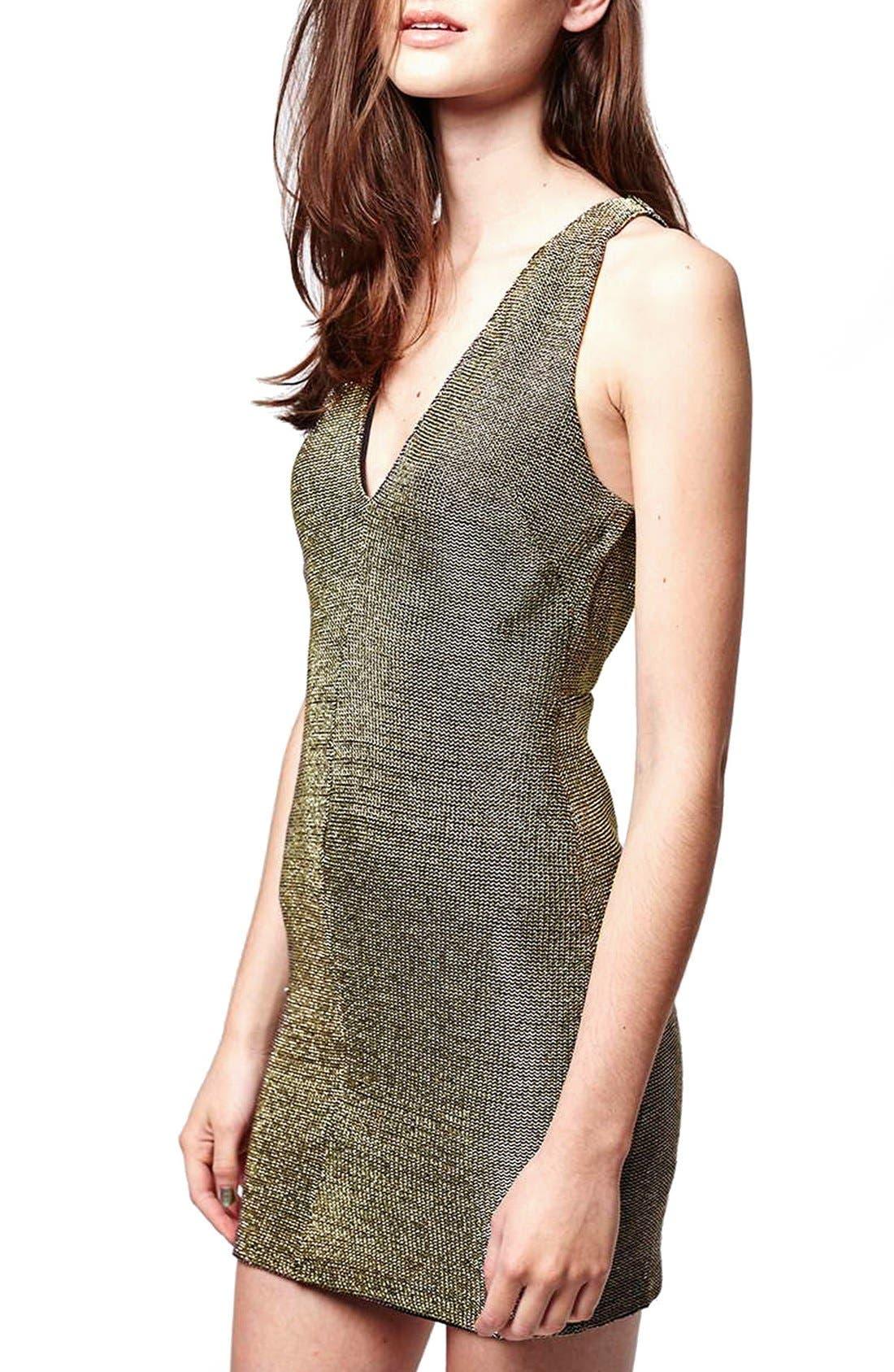 Alternate Image 4  - Topshop Metallic Body-Con Dress