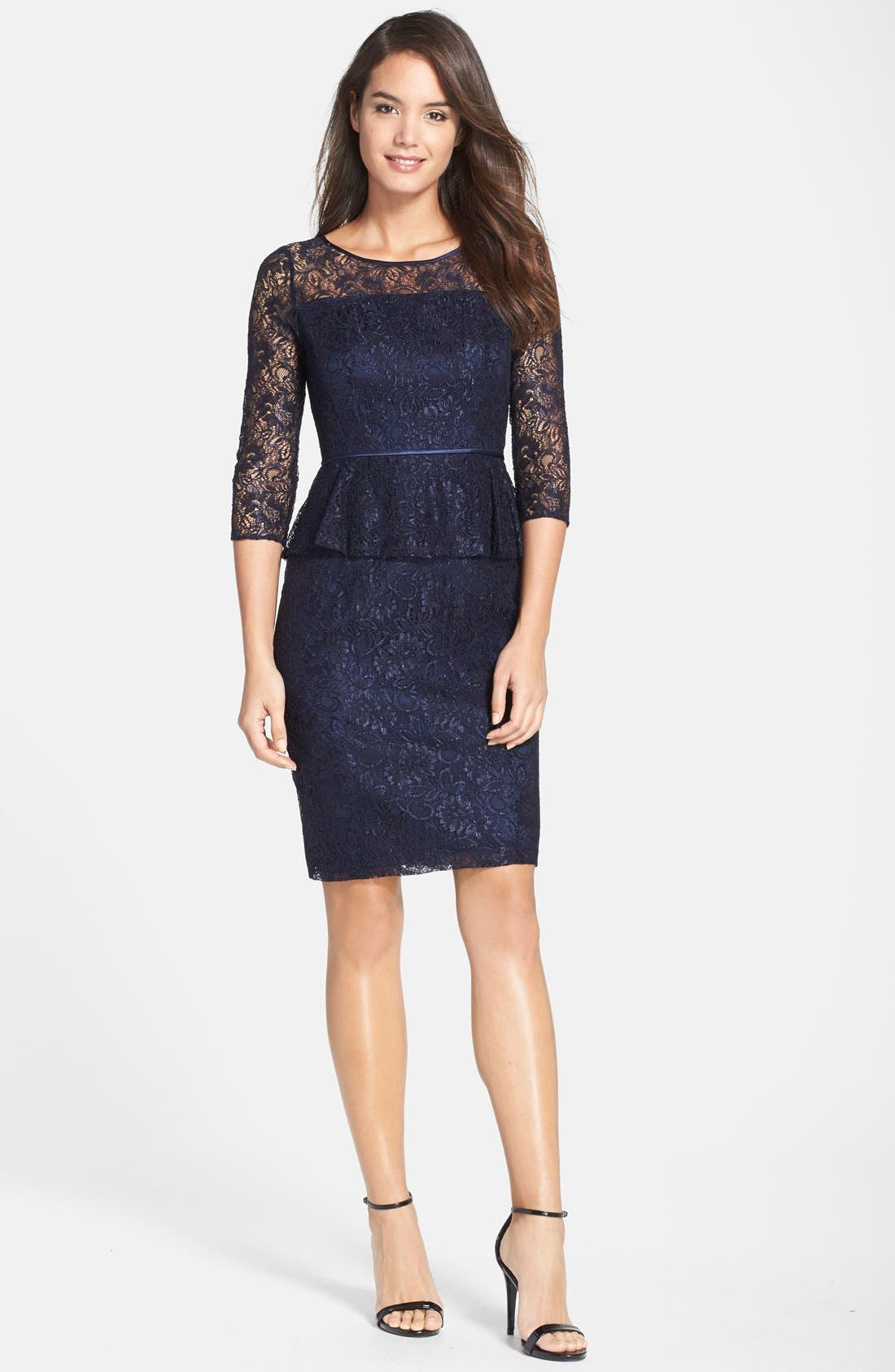 Alternate Image 4  - Adrianna Papell Peplum Lace Sheath Dress (Nordstrom Exclusive)