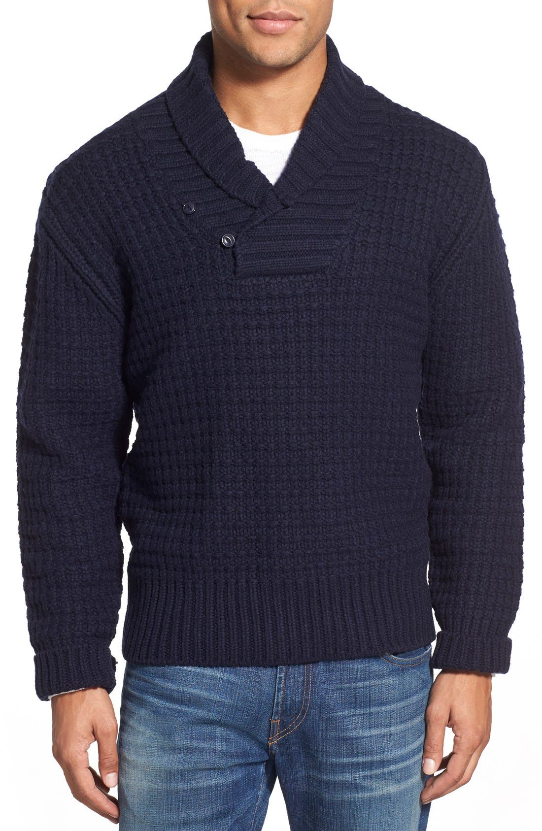 Schott NYC Shawl Collar Knit Pullover