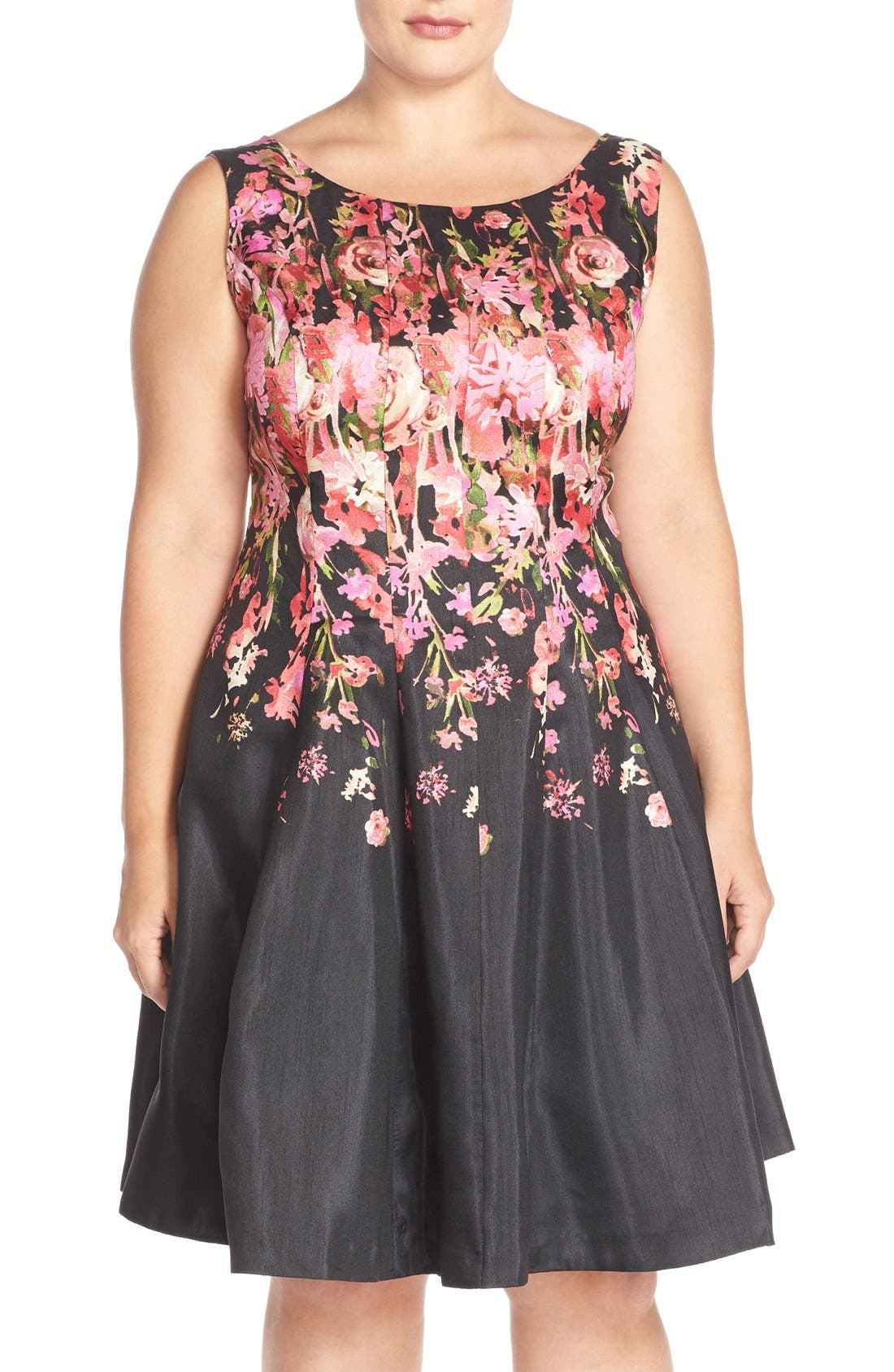 Main Image - Gabby Skye Floral Shantung Fit & Flare Dress (Plus Size)