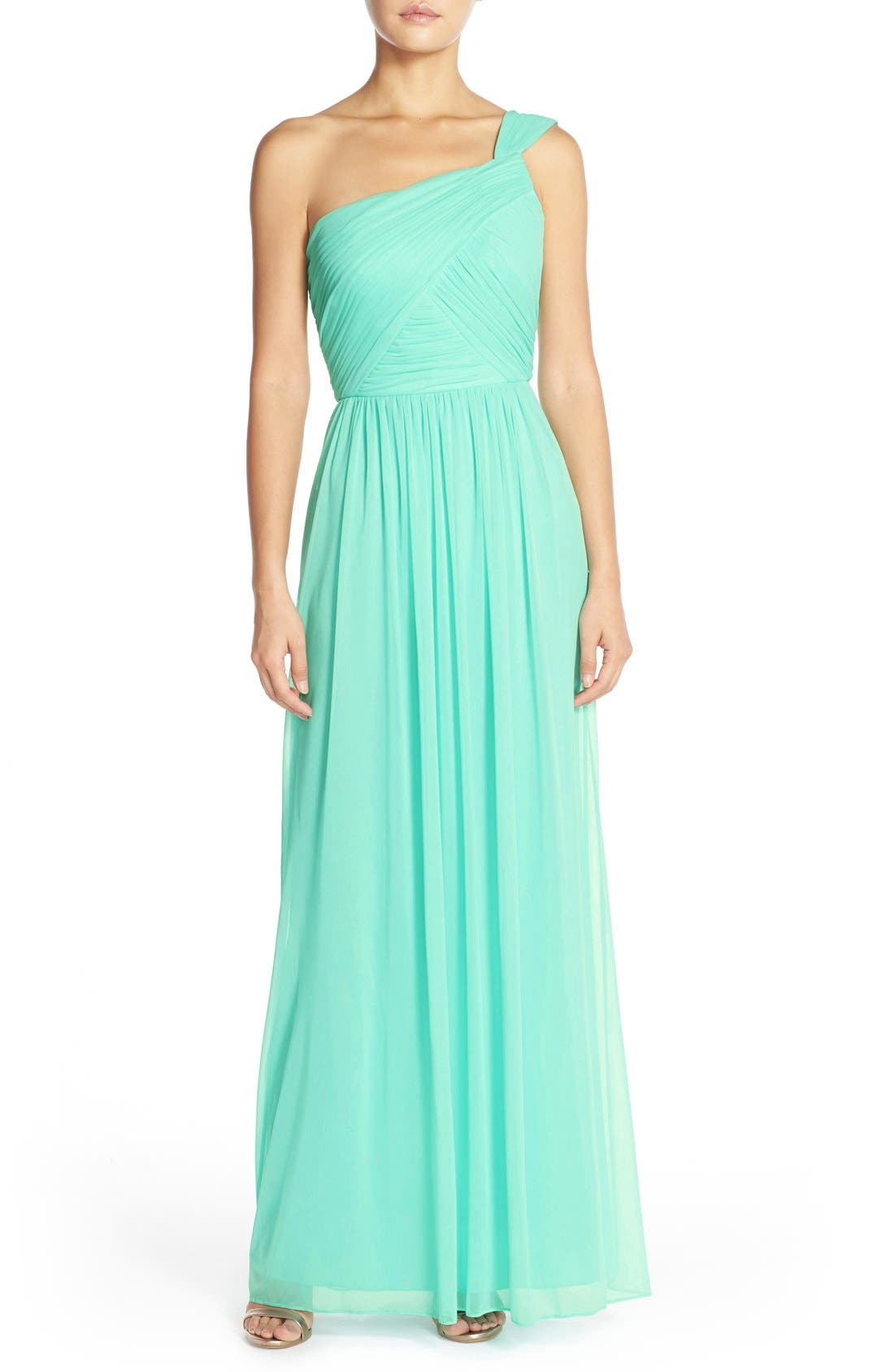 Main Image - Alfred Sung One-Shoulder Shirred Chiffon Gown