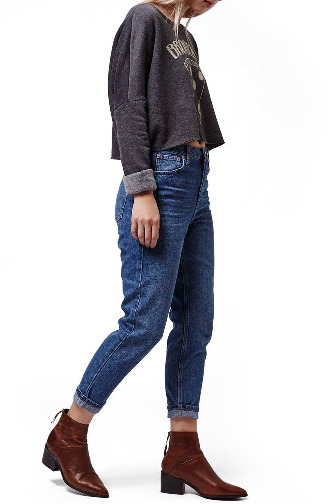 Alternate Image 2  - Topshop Moto High Rise Crop Jeans (Dark Denim) (Petite)