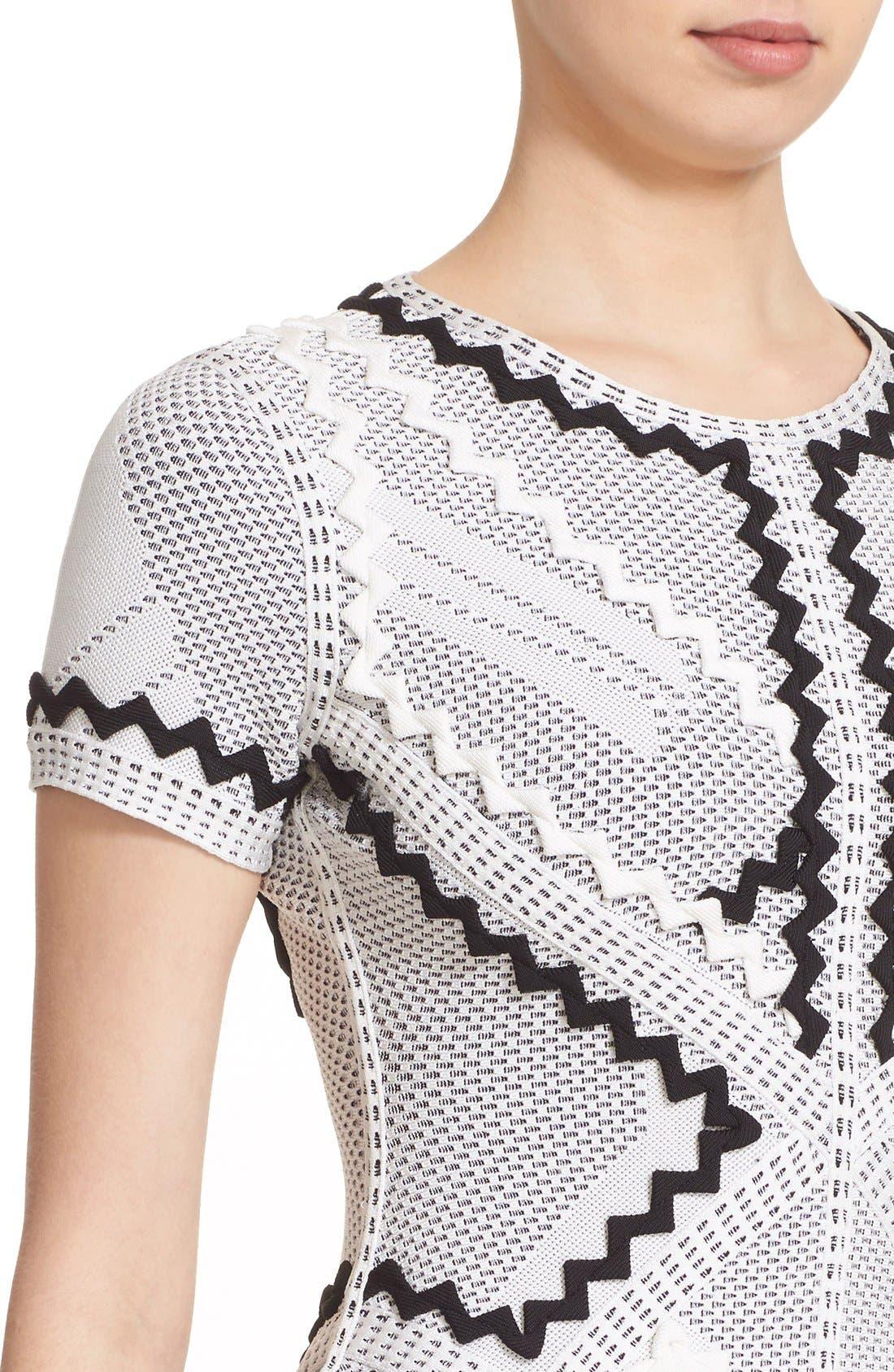 Alternate Image 5  - Herve Leger 'Morena' Zigzag Appliqué Pointelle Knit Fit & Flare Dress