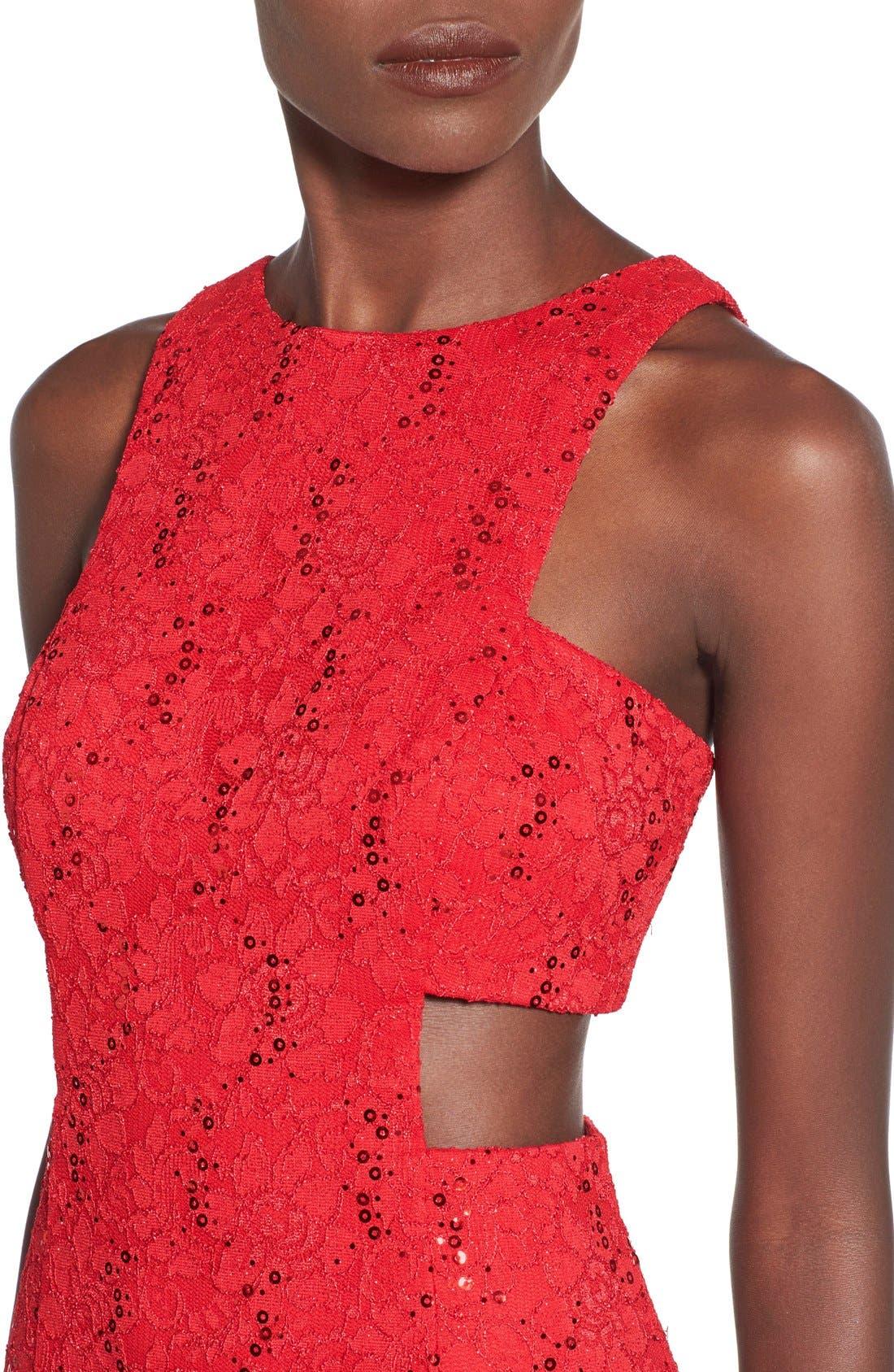 Alternate Image 4  - Morgan & Co. Side Cutout Sequin Lace Dress