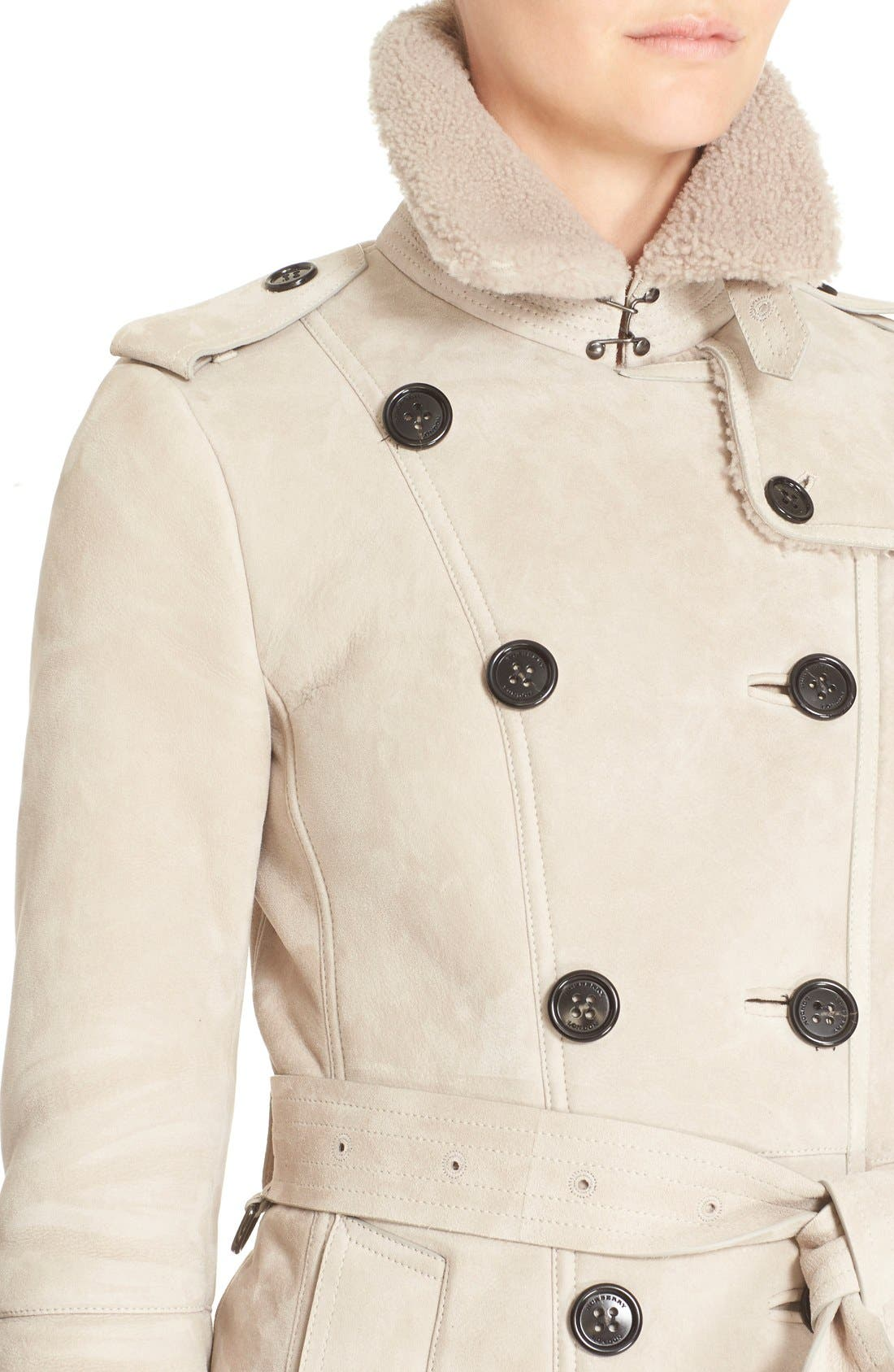 Alternate Image 4  - Burberry London 'Sandringham' Genuine Shearling Trench Coat