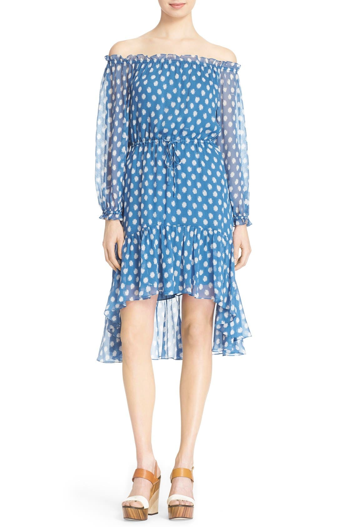 Alternate Image 1 Selected - Diane von Furstenberg 'Camila Two' Off the Shoulder Polka Dot Silk Dress