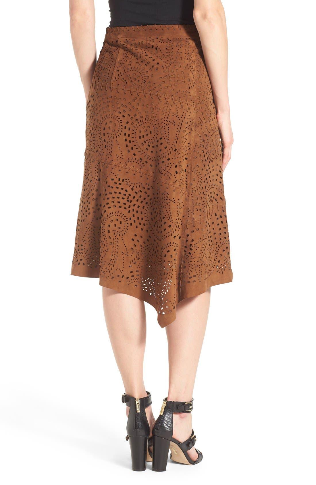 Alternate Image 2  - Kobi Halperin Perforated Suede Asymmetrical A-Line Skirt