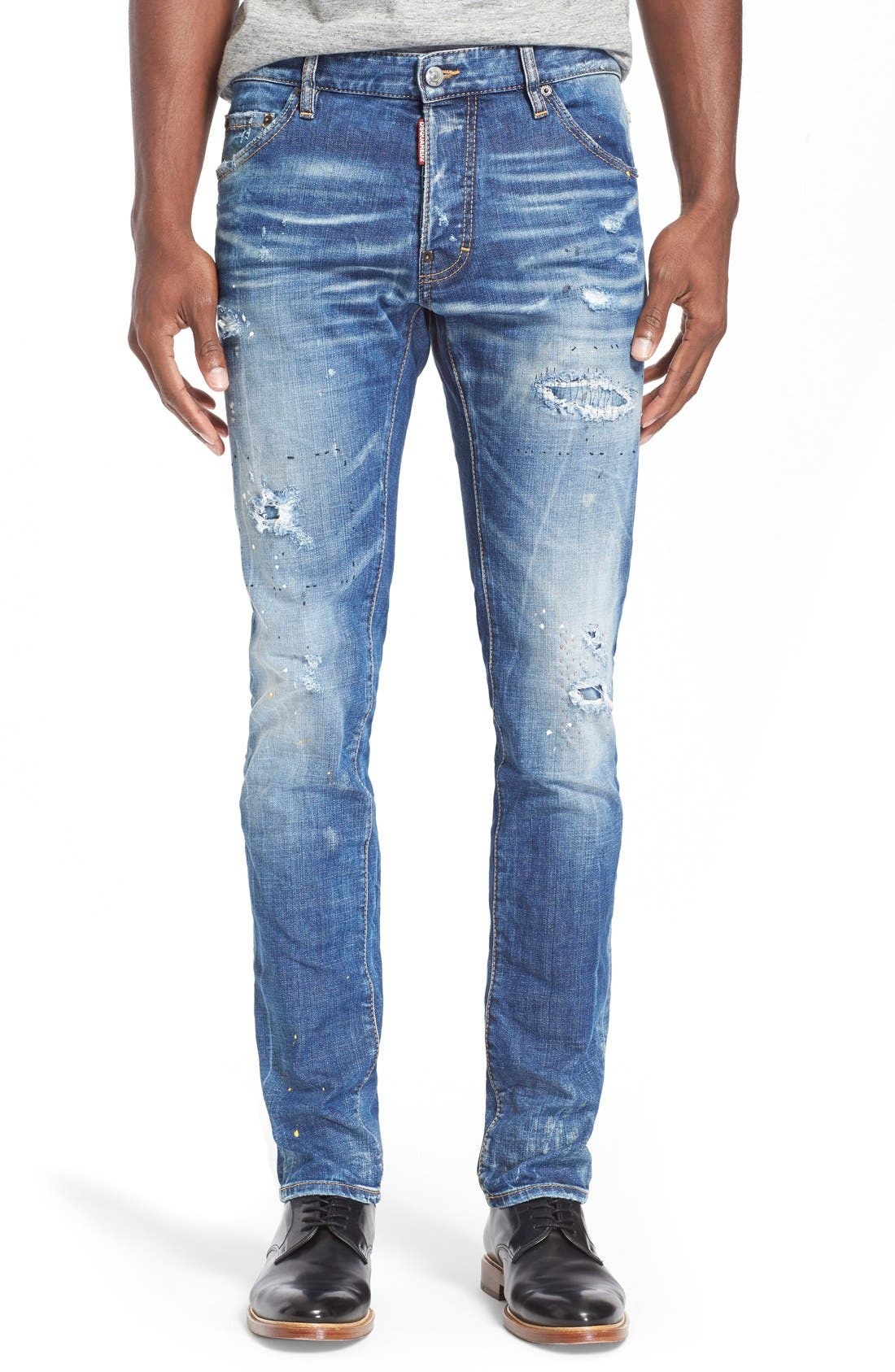 Alternate Image 1 Selected - Dsquared2 'Cool Guy' Ripped & Repaired Slim Fit Jeans