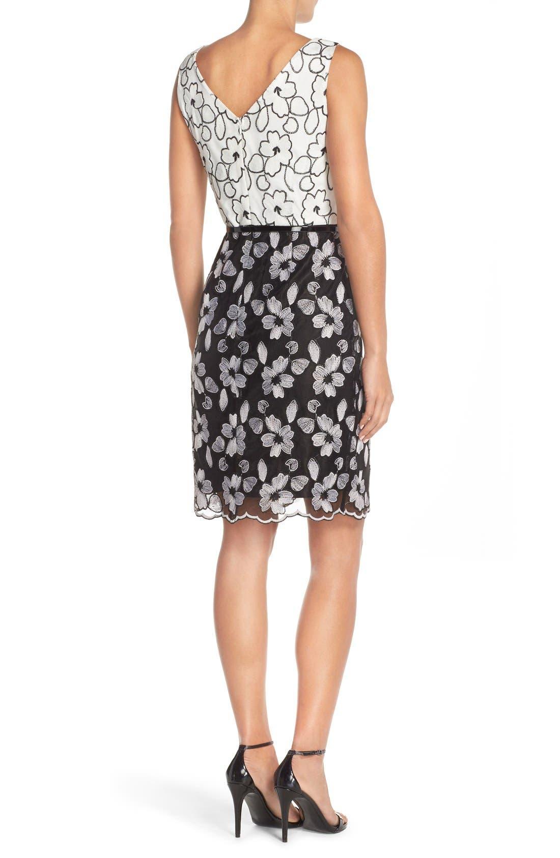 Alternate Image 2  - Ellen Tracy Floral Lace Sheath Dress With Belt