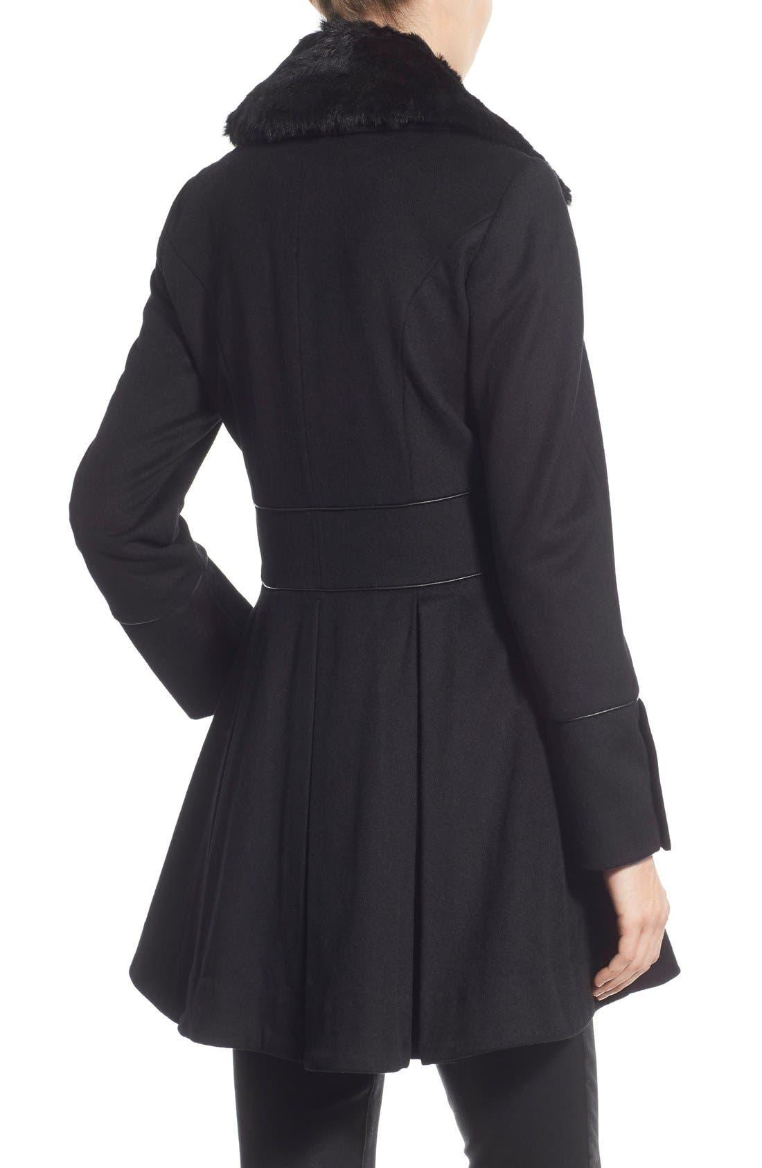 Alternate Image 2  - Betsey Johnson Faux Fur Collar Skirted Wool Blend Coat