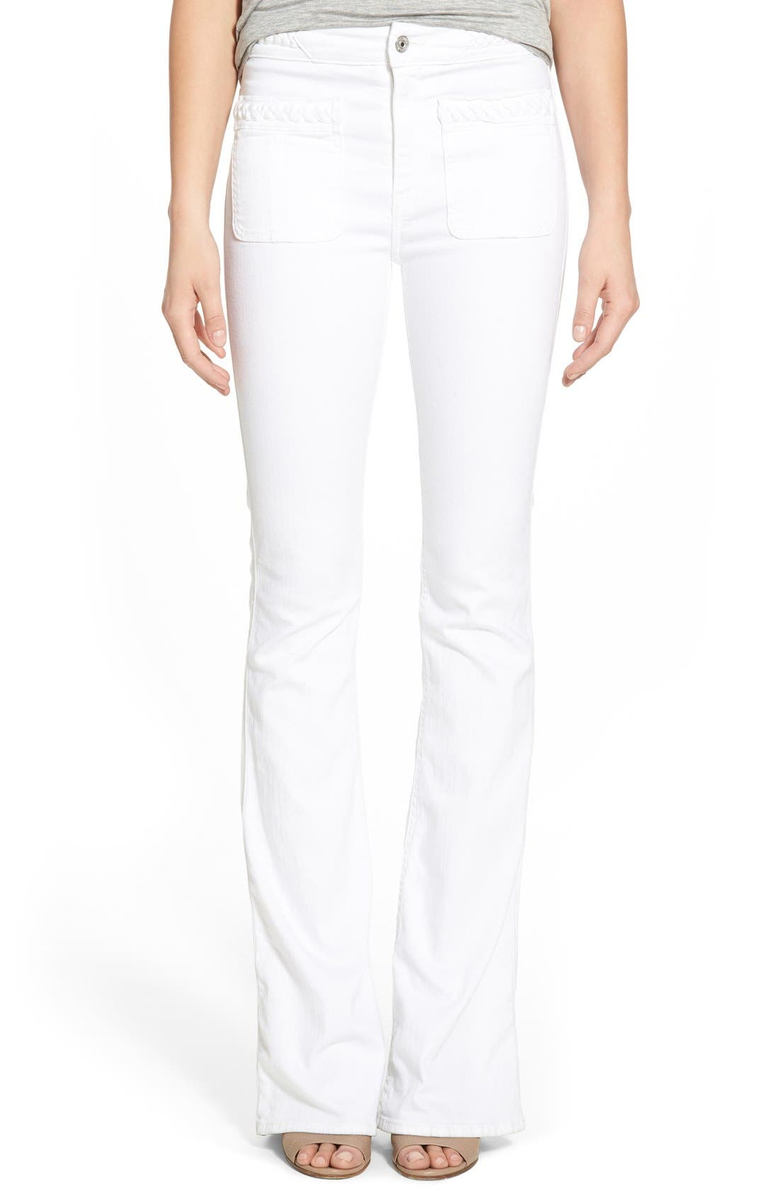 Alternate Image 1 Selected - 7 For All Mankind® High Rise Braided Trim Flare Jeans (White Fashion)