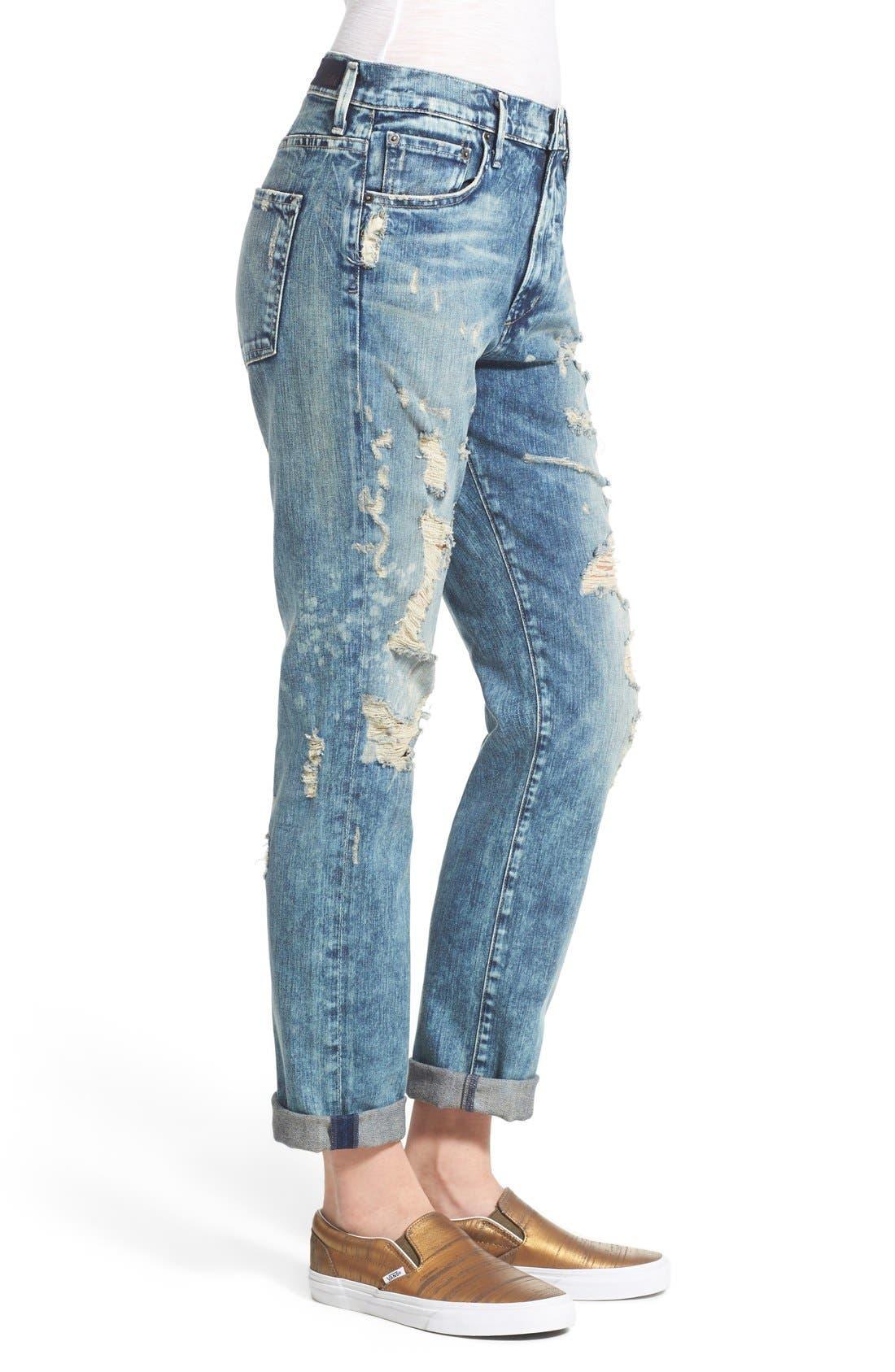 Alternate Image 3  - A Gold E 'Denise' Destroyed Boyfriend Jeans (Lisbon)
