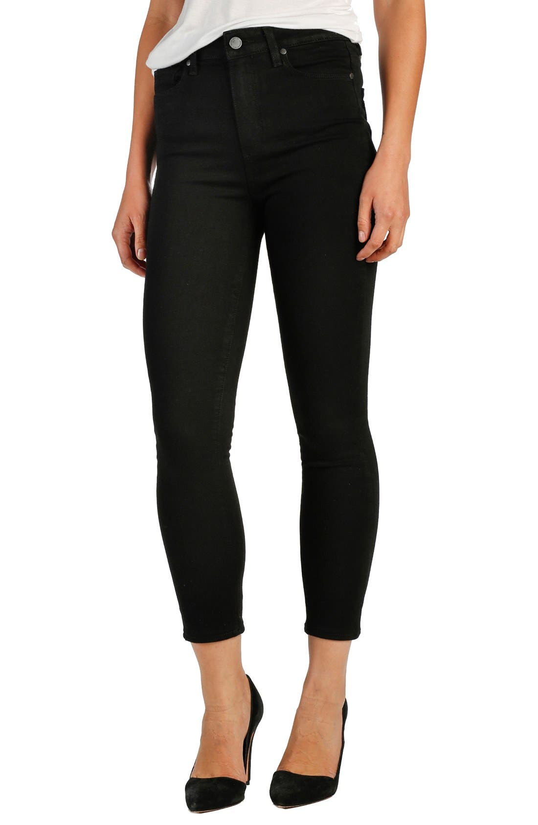 Main Image - PAIGE Transcend - Margot High Waist Crop Ultra Skinny Jeans (Black Shadow)