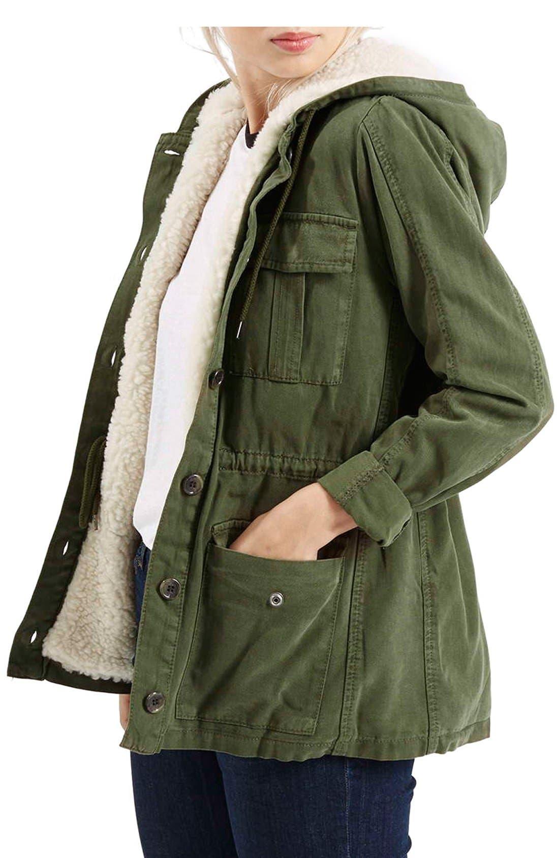 Alternate Image 1 Selected - Topshop 'Esme' Faux Fur Lined Parka