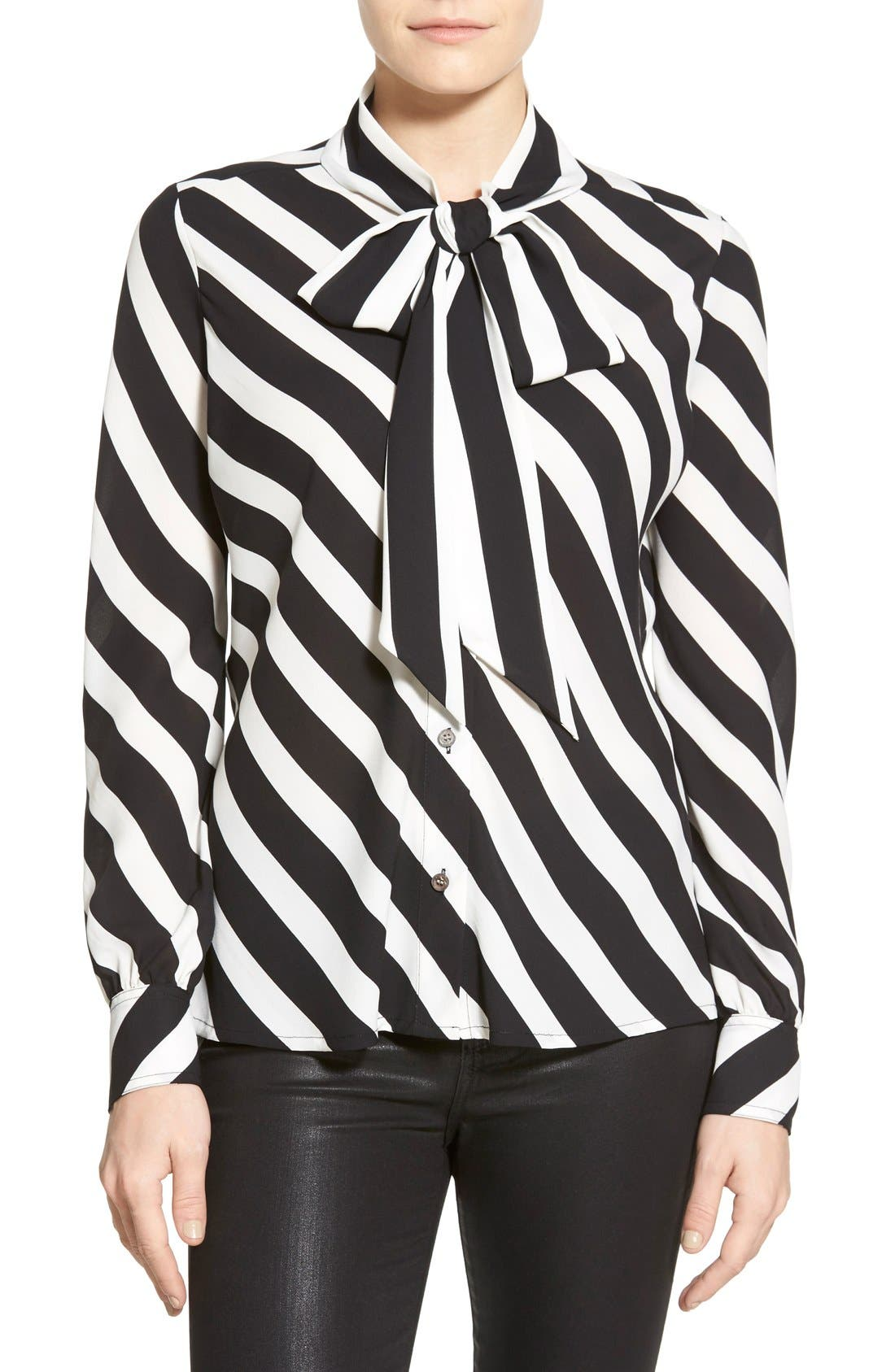 Main Image - Vince Camuto 'Runway Stripe' Tie Neck Blouse