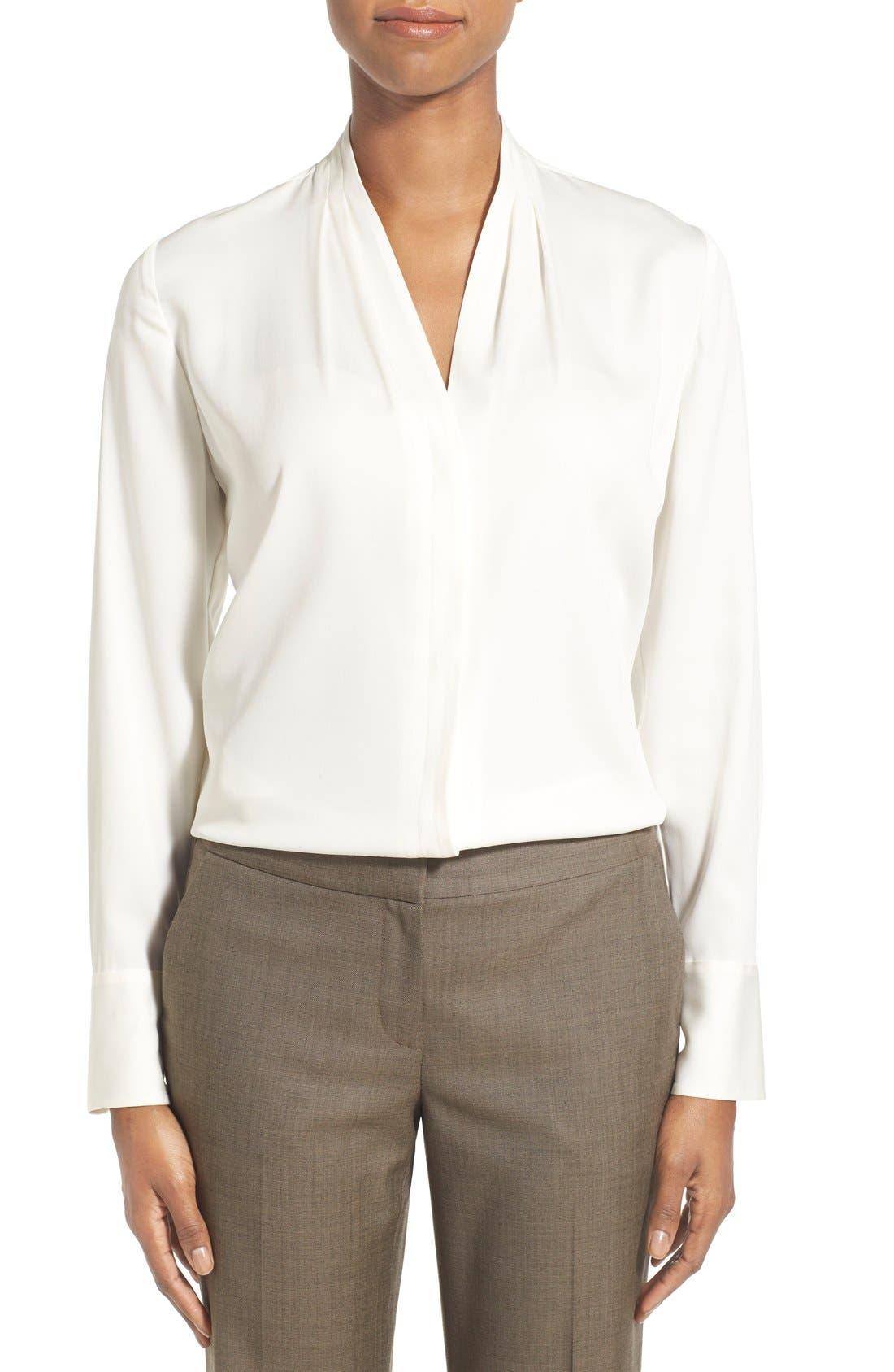 Main Image - Classiques Entier® Pleat V-Neck Stretch Silk Blouse (Regular & Petite)