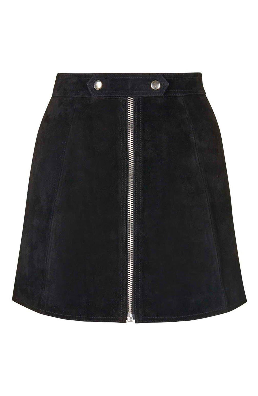 Alternate Image 4  - TopshopButton TabSuede Skirt