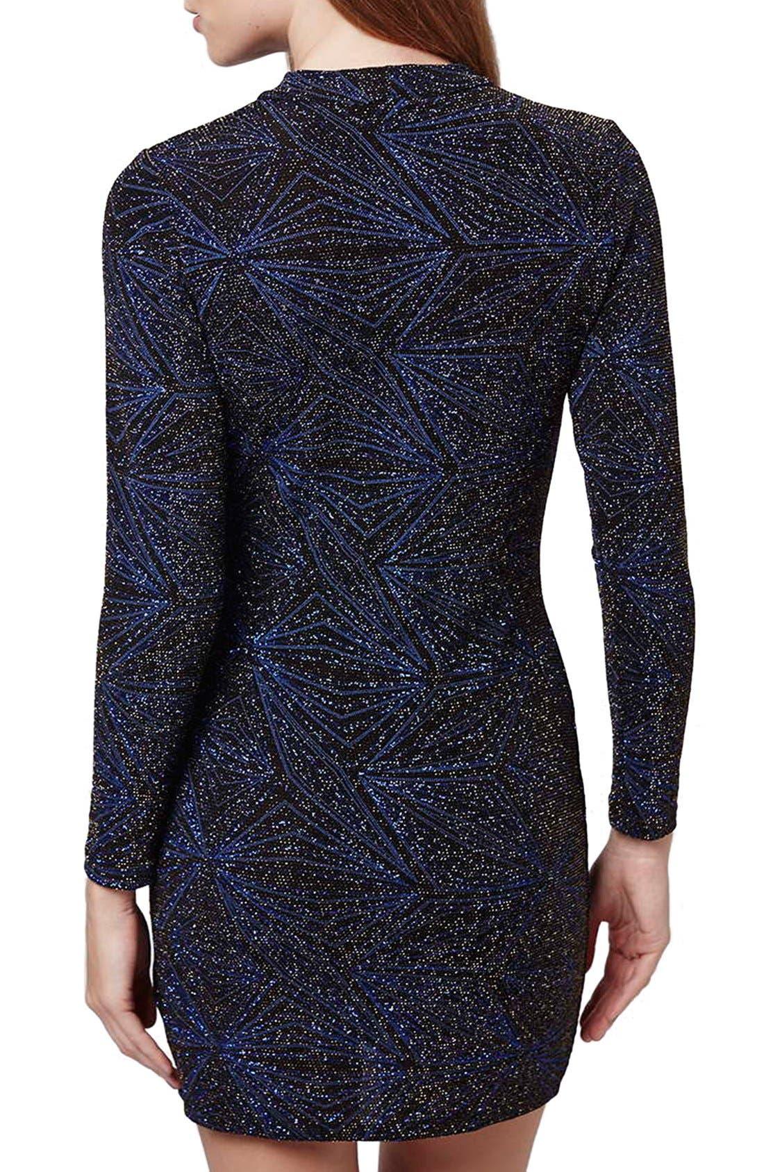 Alternate Image 3  - Topshop Metallic Long Sleeve Body-Con Dress