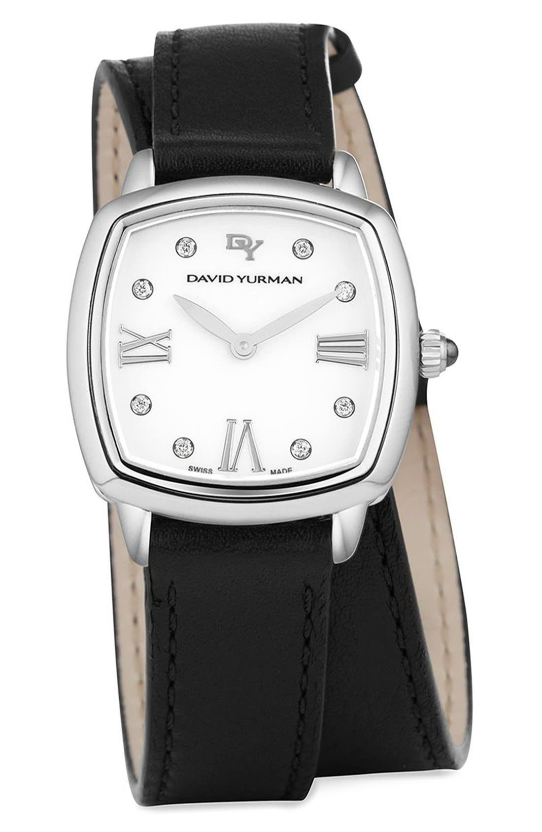 David Yurman 'Albion' 27mm Leather Swiss Quartz Watch with Diamonds