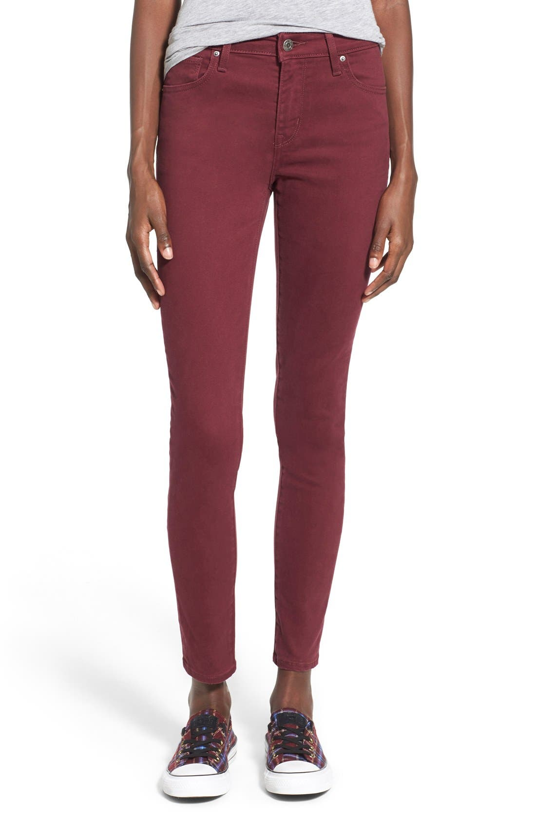 Alternate Image 1 Selected - Levi's® '721' High Rise Skinny Jeans (Warm Merlot)