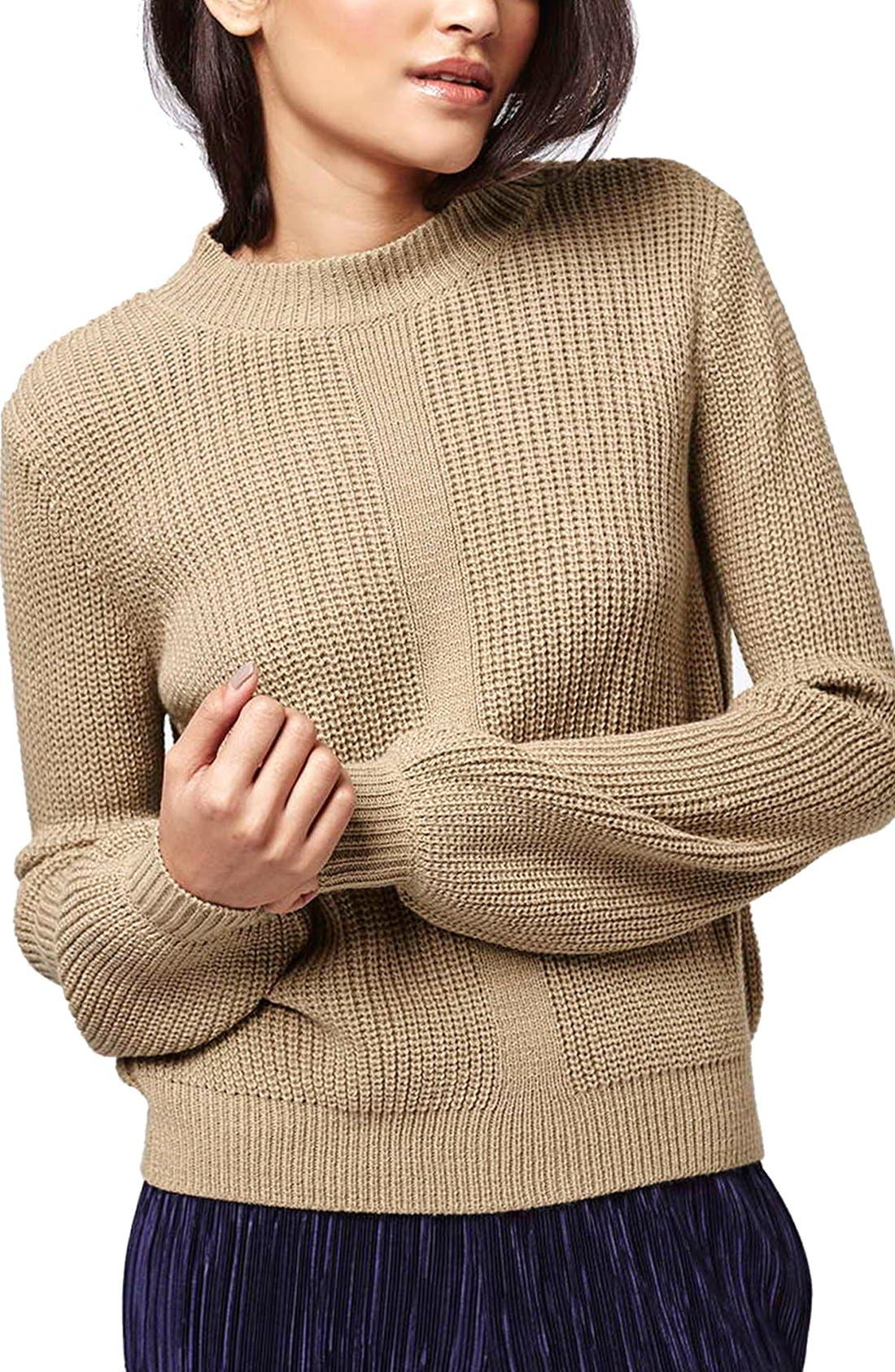 Main Image - Topshop Mock Neck Pullover Sweater