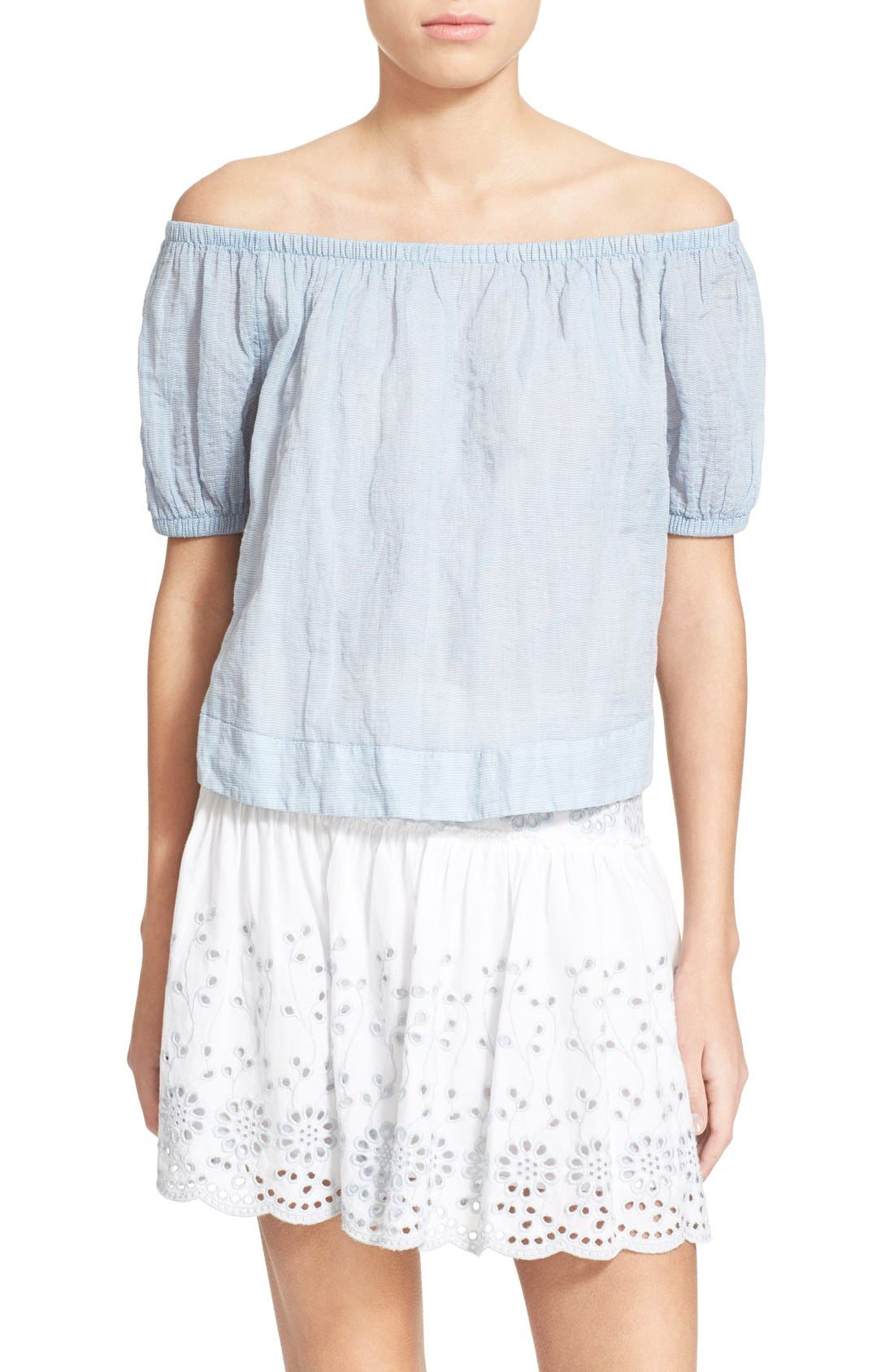 Main Image - See by Chloé Stripe Cotton Voile Off the Shoulder Top