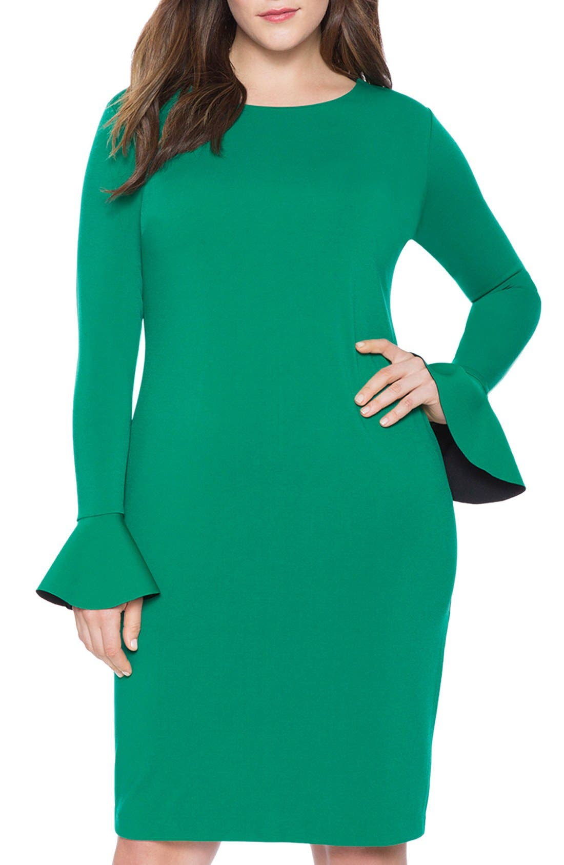 Main Image - ELOQUII Lace Inset Flounce Cuff Body-Con Dress (Plus Size)