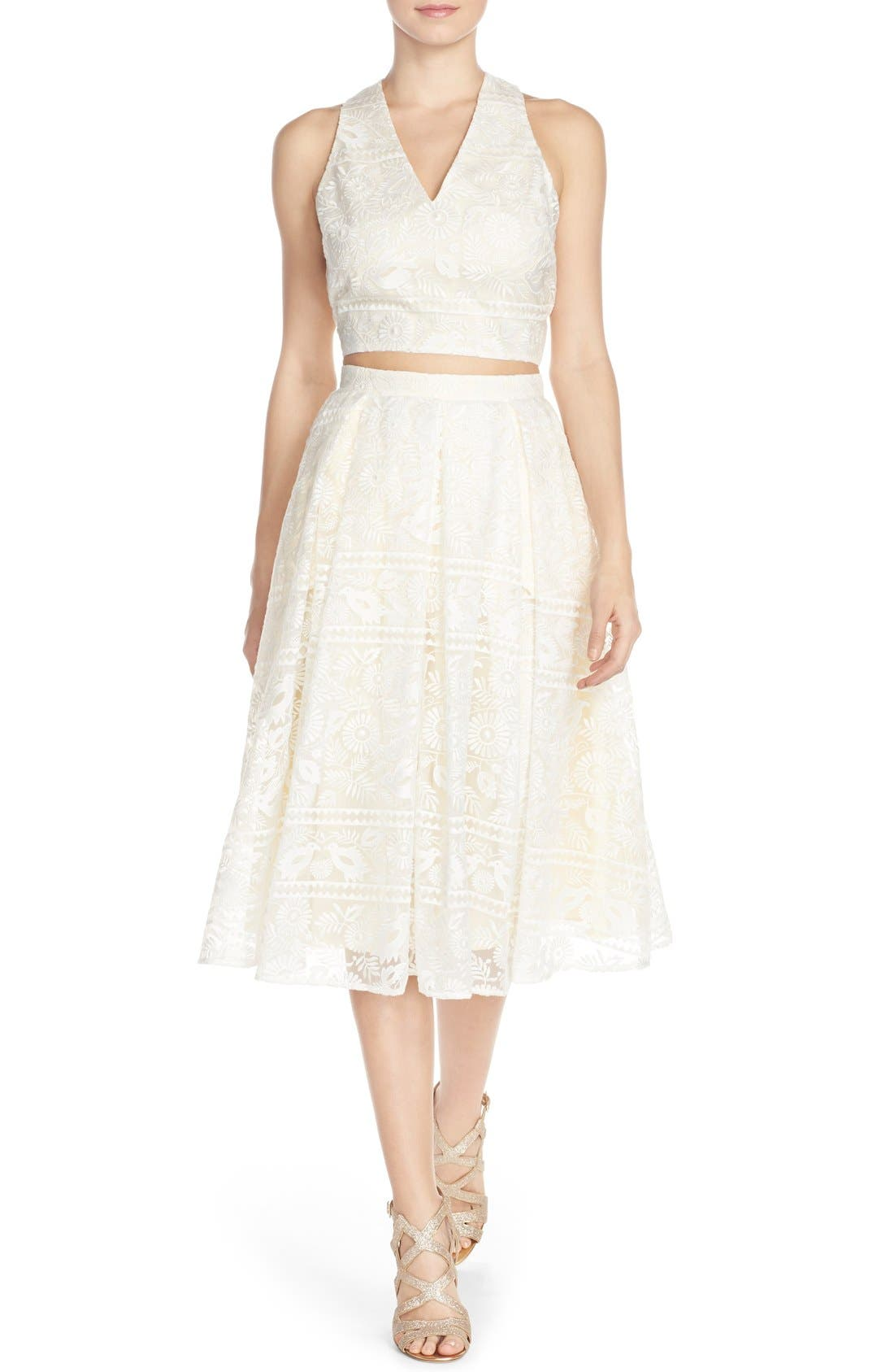 Alternate Image 2  - Paper Crown by Lauren Conrad 'Marietta' Lace Organza Full Skirt