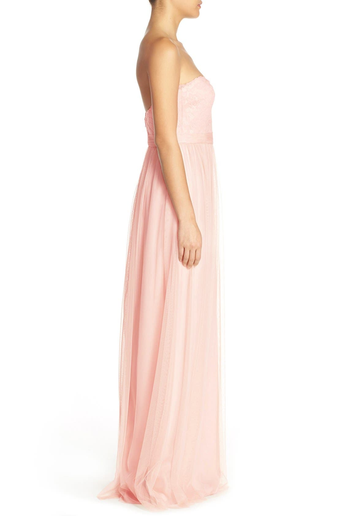 Alternate Image 3  - Amsale 'Calla' Strapless Lace & Tulle Gown