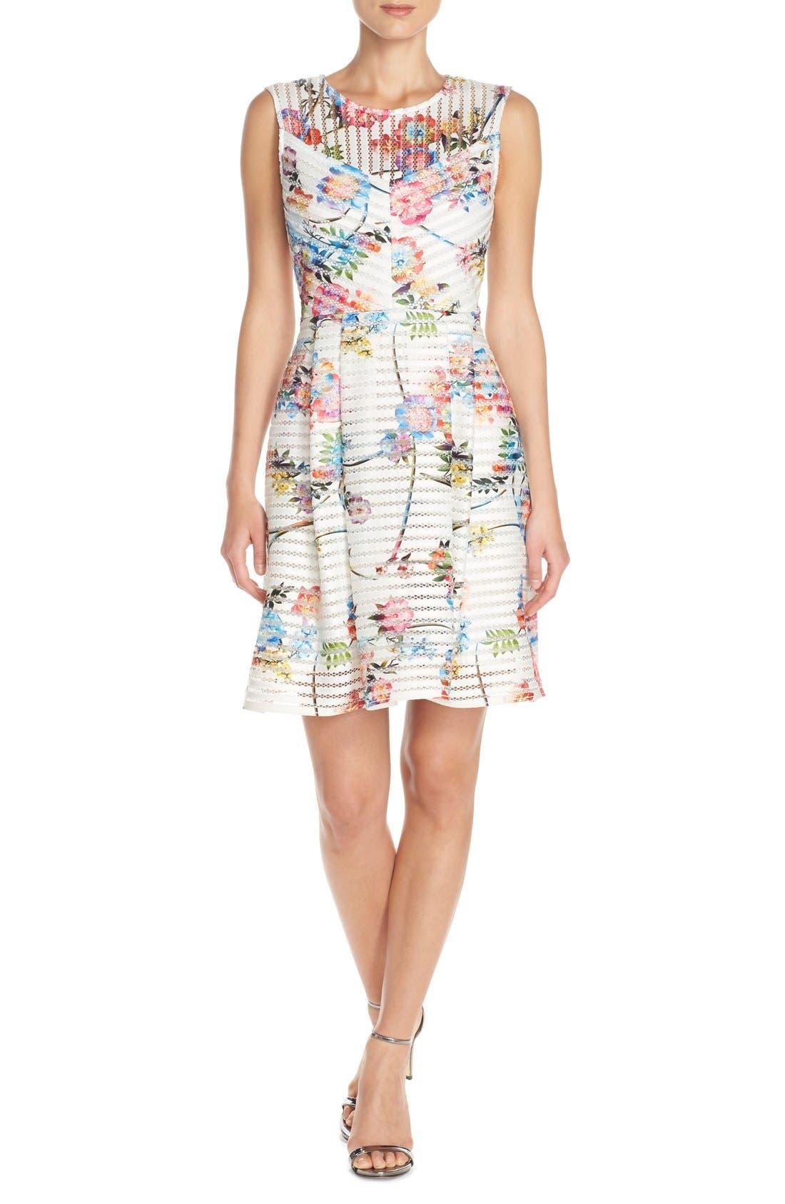 Main Image - Gabby Skye Floral Scuba Mesh Fit & Flare Dress