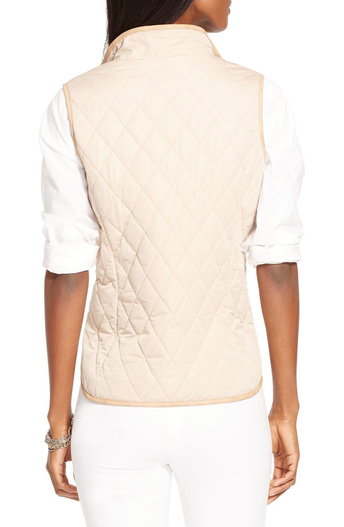 Alternate Image 2  - Lauren Ralph Lauren Faux Leather Trim Vest
