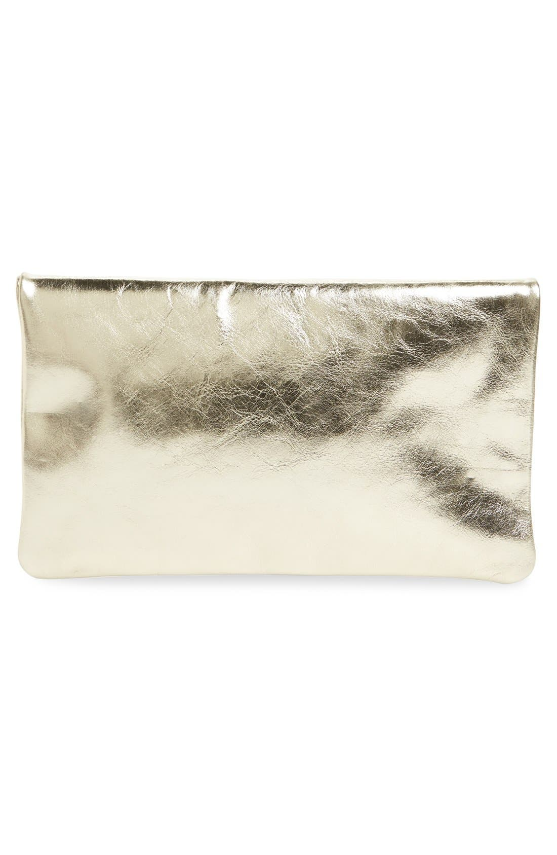 Alternate Image 4  - Clare V. 'Maison' Metallic Leather Foldover Clutch