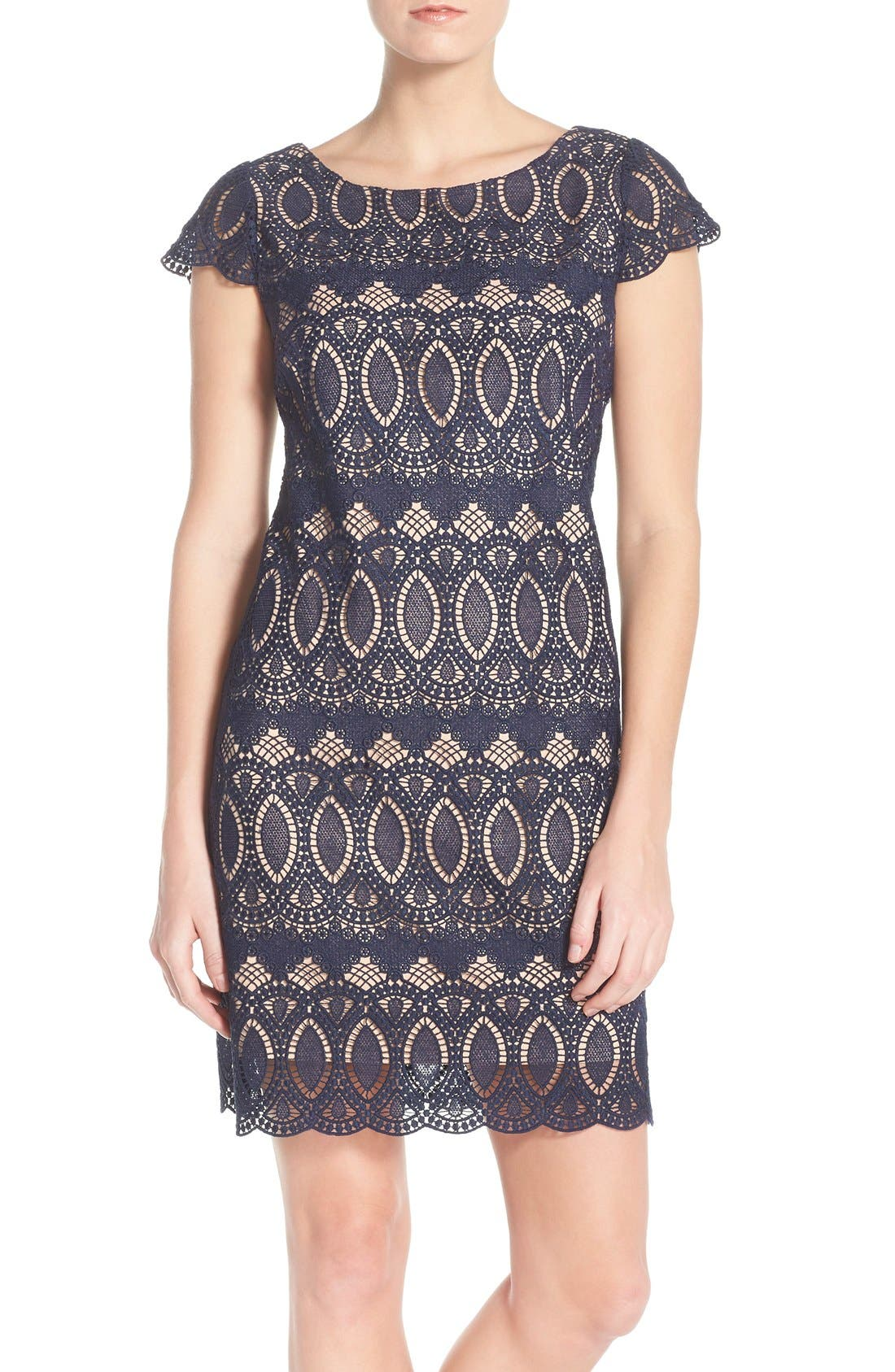 Eliza J Scalloped Lace Sheath Dress (Regular & Petite)
